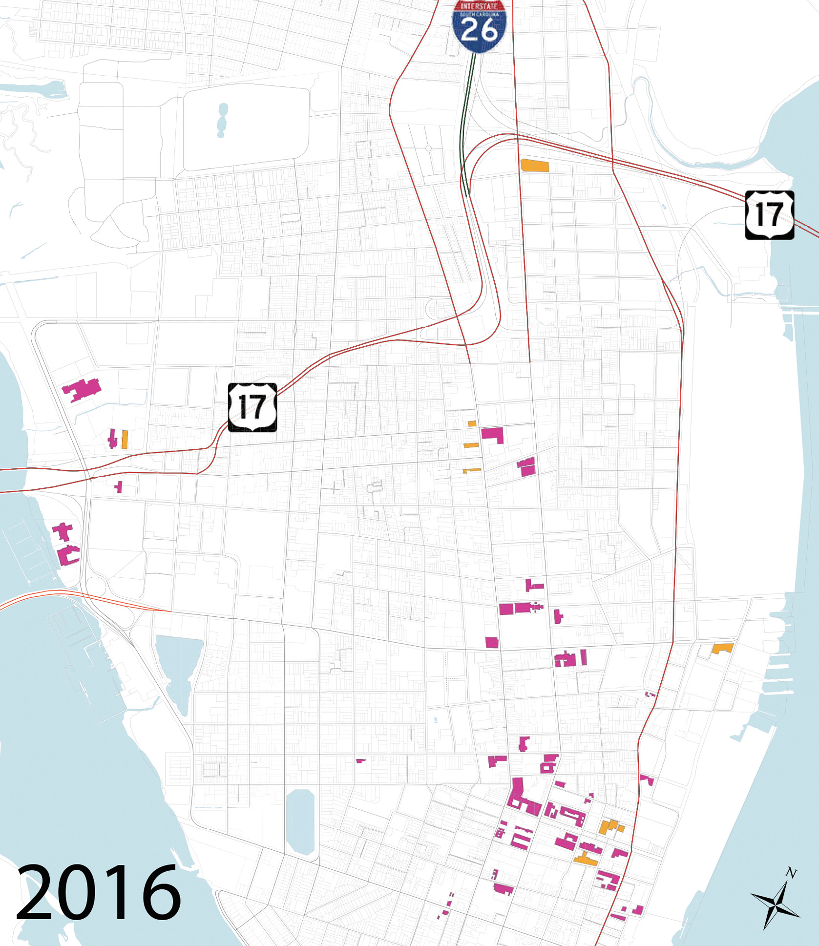 "This map from the Peninsula Hotel Study, prepared by the City of Charleston's department of Planning, Preservation, and Sustainability and division of Business and Neighborhood Services in June 2016, shows all existing hotels and those under construction in magenta and 11 recently approved in orange. Upon completion, the peninsula will have nearly 6,000 guest accommodations. To read the full report, visit <a href=""http://www.charleston-sc.gov/DocumentCenter/View/11618"">www.charleston-sc.gov/DocumentCenter/View/11618</a>."