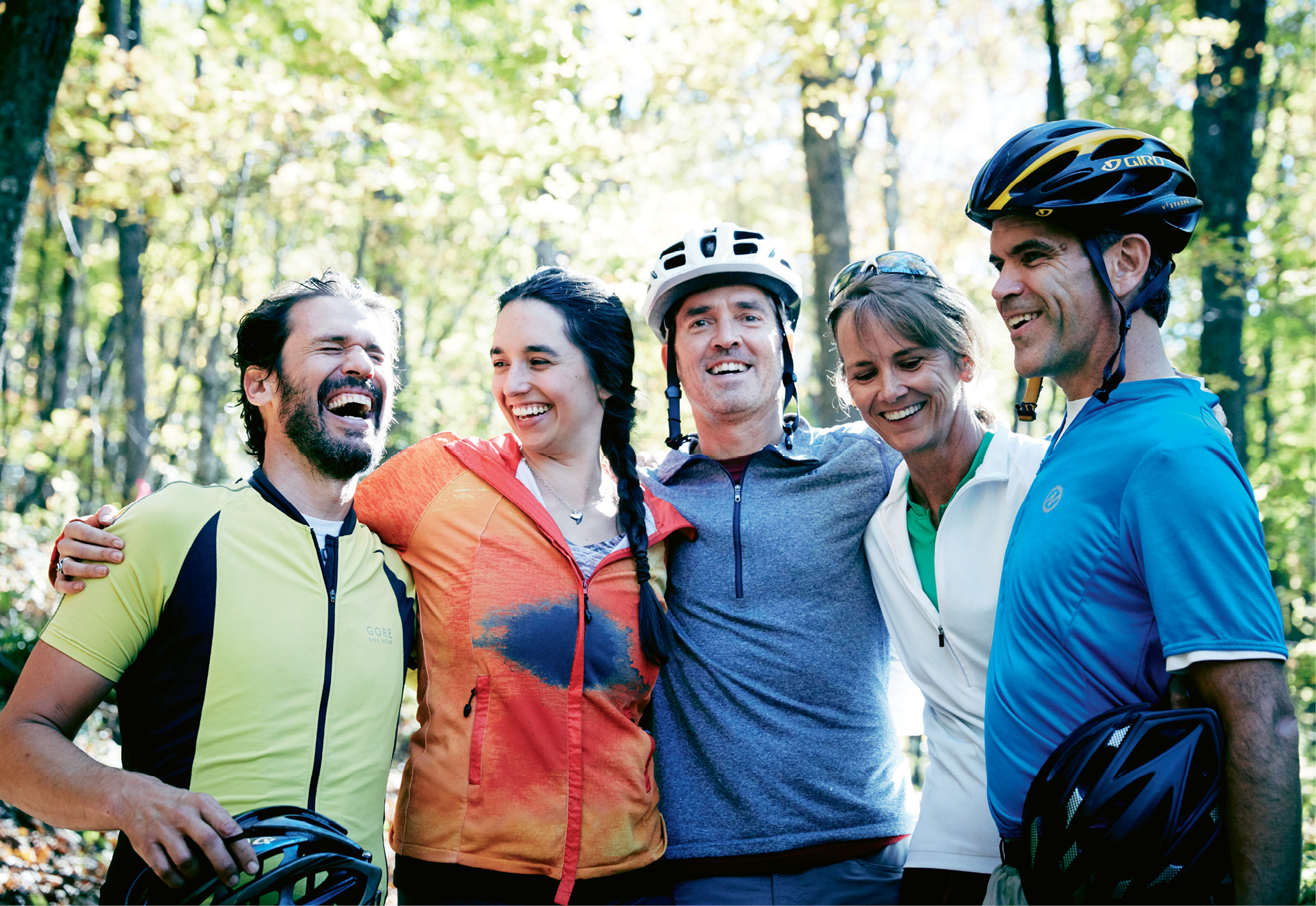 (Above left to right) John Duckworth, Gloria Wilson, Robert Prioleau, and Stephanie and Noel Hunt share laughs and trail talk while taking a break from exploring the REEB Ranch mountain biking wonderland.