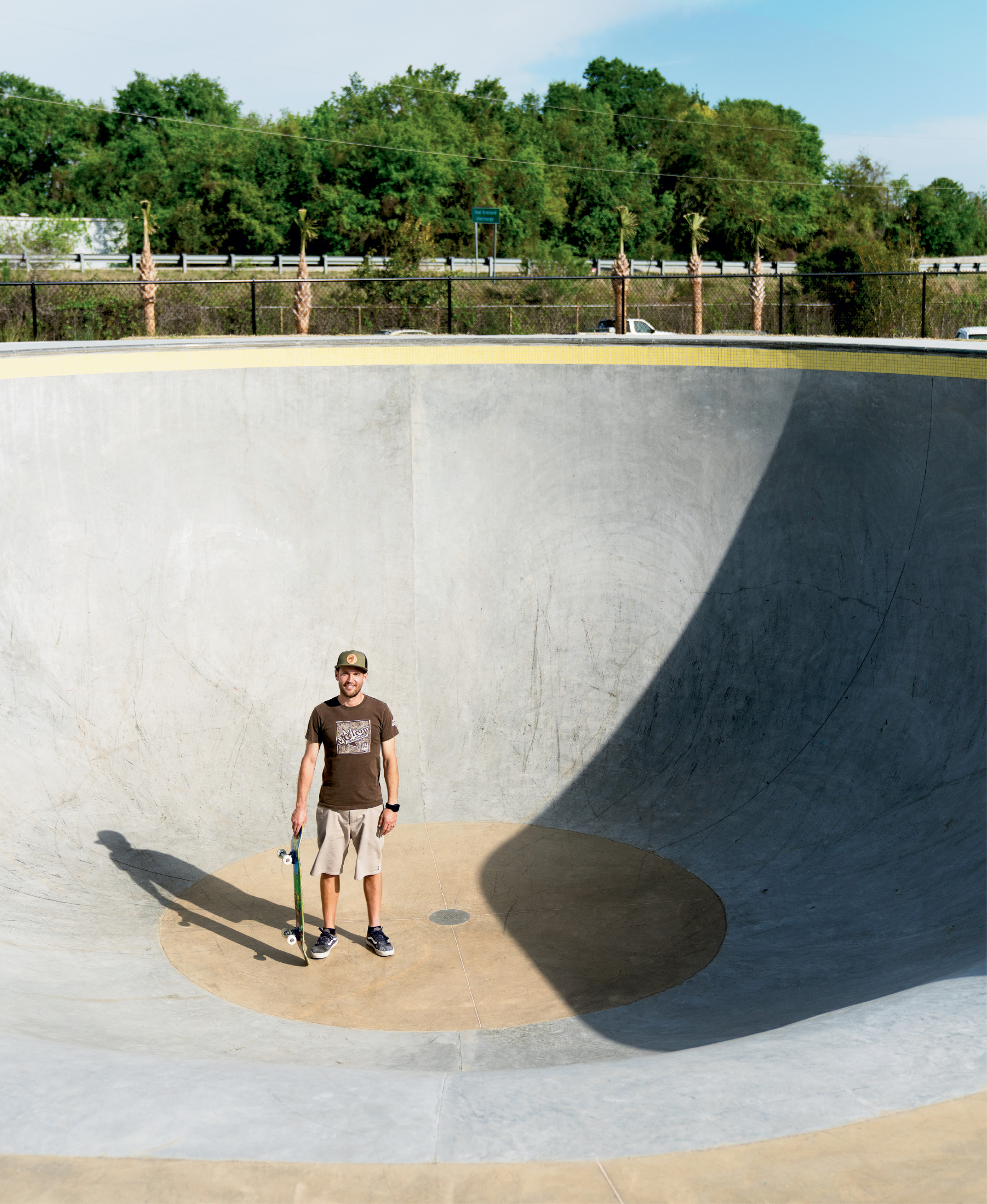 """Park manager Josh McFadden in the pro bowl; the avid skater says he found his """"dream job"""" when he was hired to help launch the park last fall. """"I love being fully immersed in skateboarding all day, every day,"""" the College of Charleston grad notes. """"This facility is quickly becoming a breeding ground for the next generation of skaters. It serves as a safe place where young people can come and practice their skills and interact with their peers."""""""