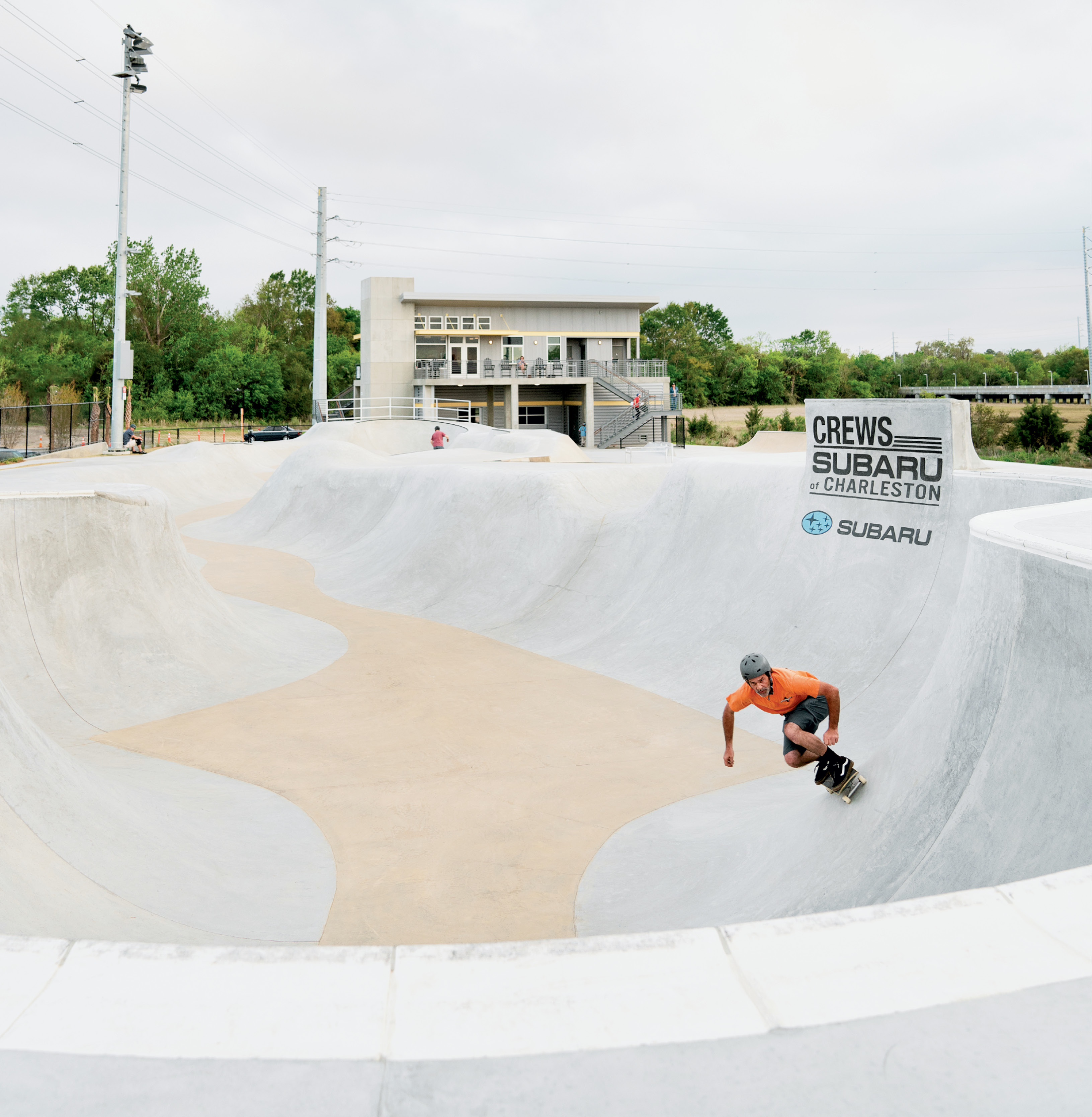 Visitors can take in the action from the viewing deck  off the main building, which houses a small skate shop, concessions,  and restrooms.