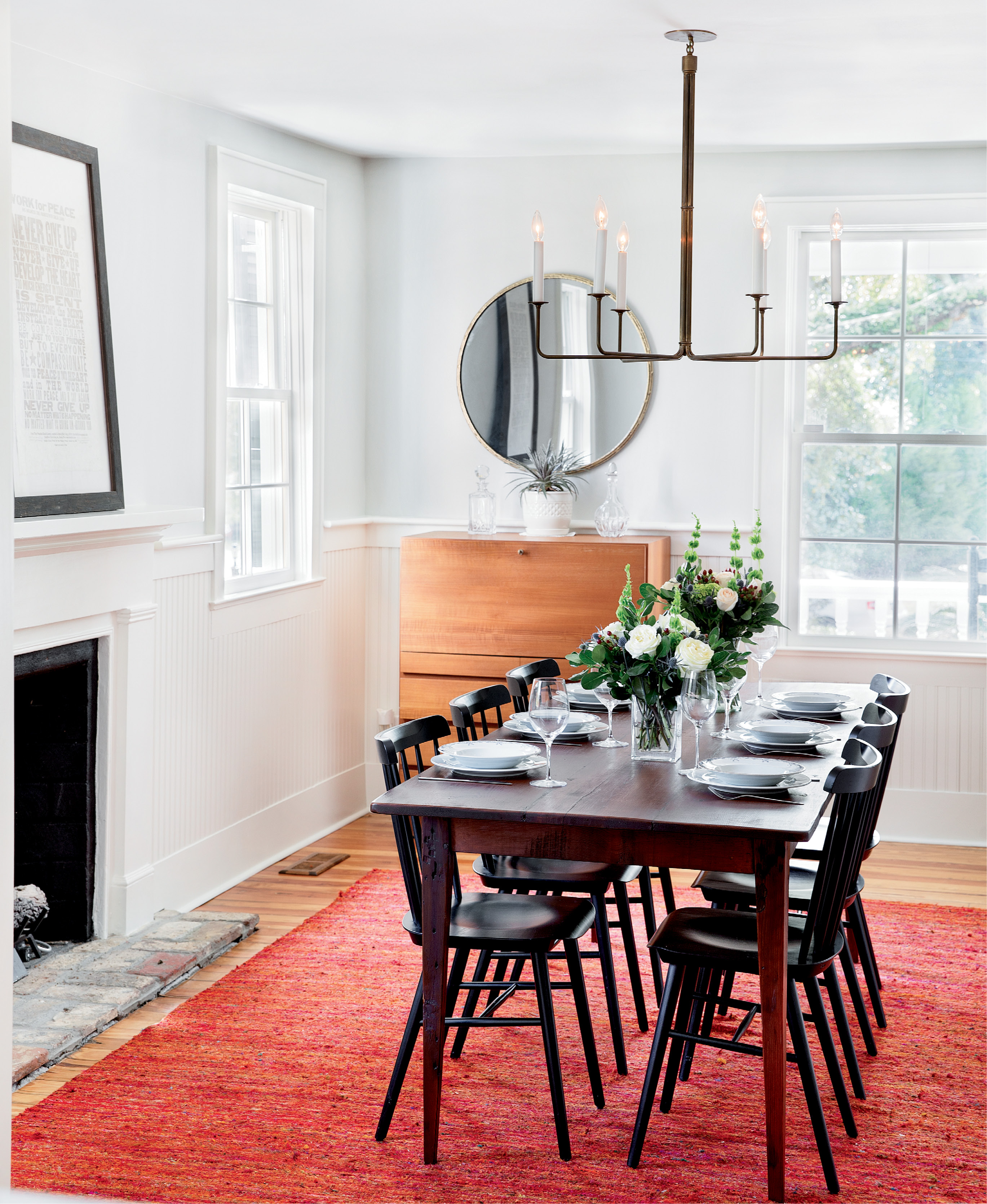 serving well: Aside from the addition of some period-sensitive beadboard, the dining room retains much of its centuries-old character.