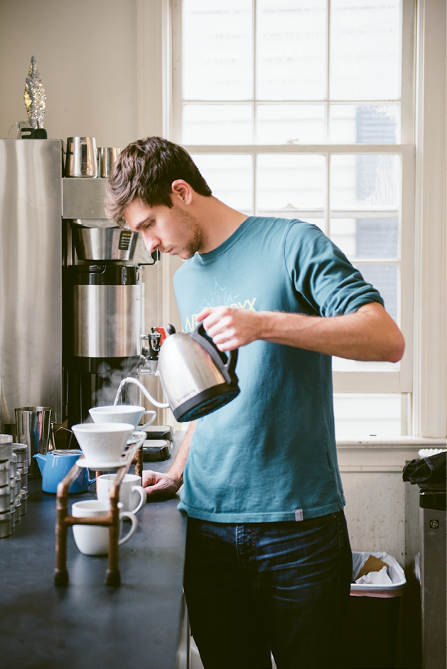 Dark Matter: A Black Tap barista uses drippers perched on a pour-over bar to brew perfectly saturated cups of joe.