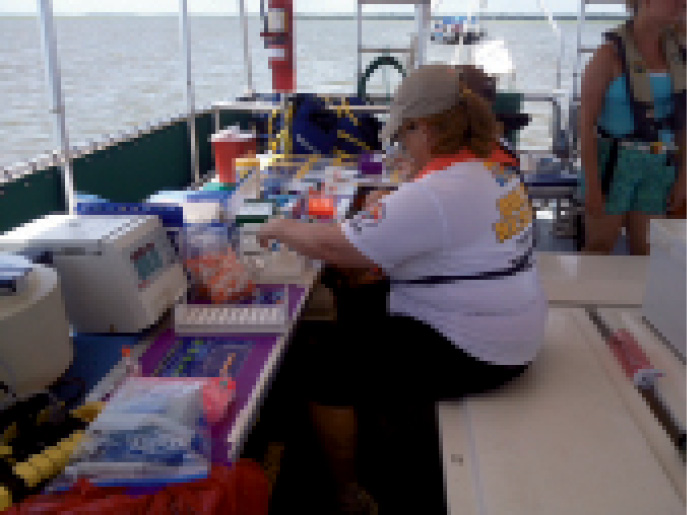 A floating lab and dolphin researchers in Charleston Harbor for the 2013 HERA study