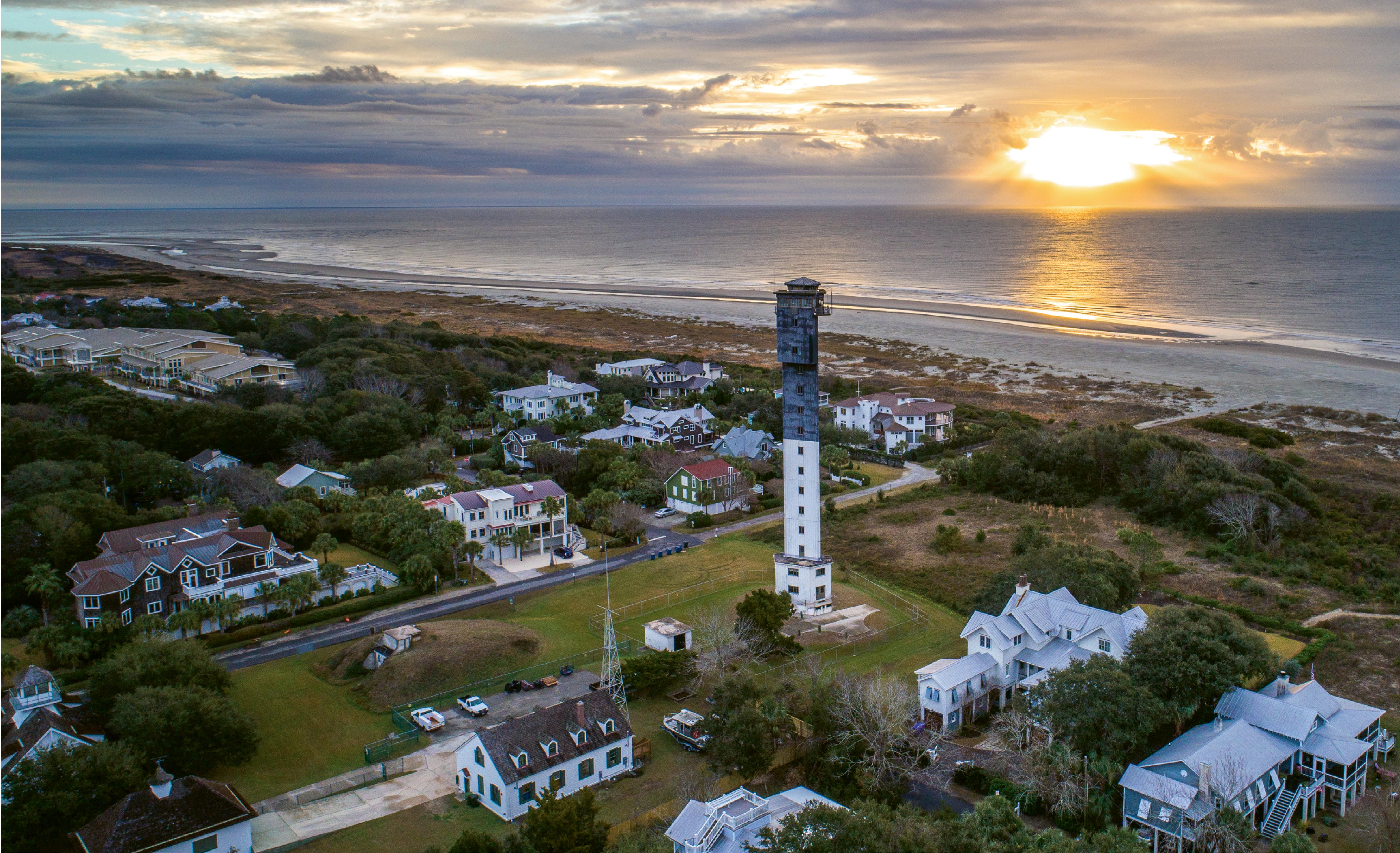 """Charleston Light, Winter Sunrise""  {Altitude: 190 feet}  The Sullivan's Island lighthouse amidst a chilly December sunrise"
