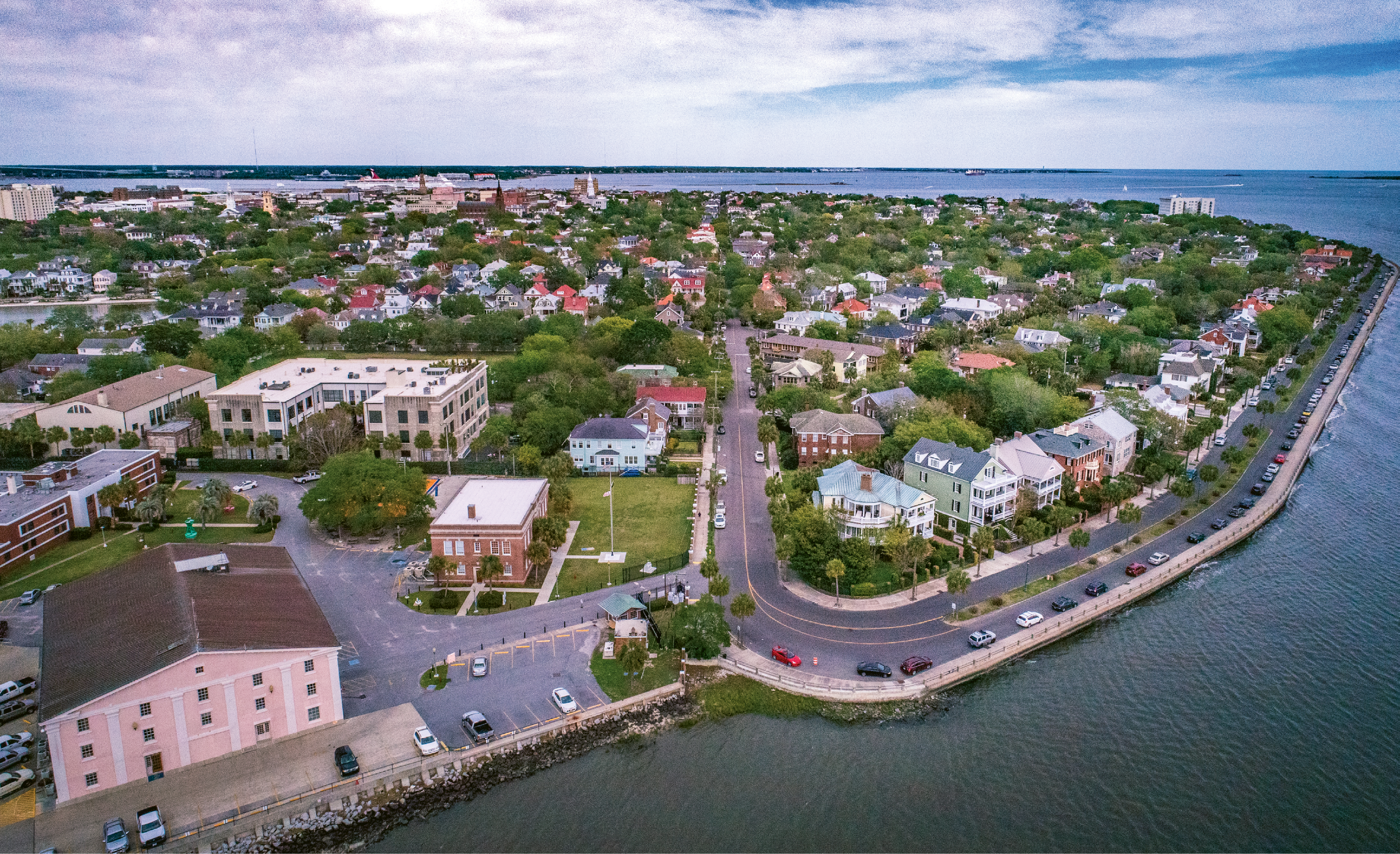 """""""The Battery Bend"""" {Altitude: 120 feet}  A new take on the peninsula's distinct shape from the western edge at Tradd Street and Murray Boulevard"""