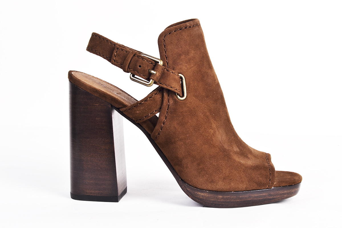 """Frye """"Karissa"""" shield sling in """"wood,"""" $298 at Shoes on King"""
