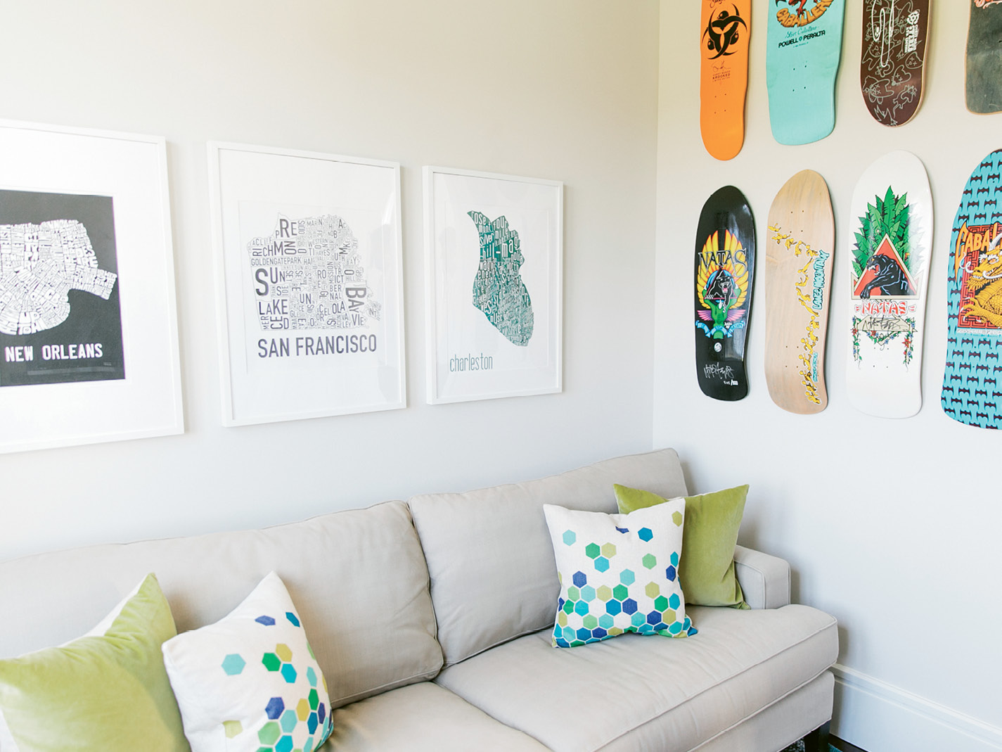 """When the twins are craving quiet time, they retreat to their second-floor bedrooms and shared TV room, where the walls are decorated with skateboards that once belonged to Melissa's brother. """"Amelia skateboards, and Cole's the intellectual of the family,"""" Melissa notes."""