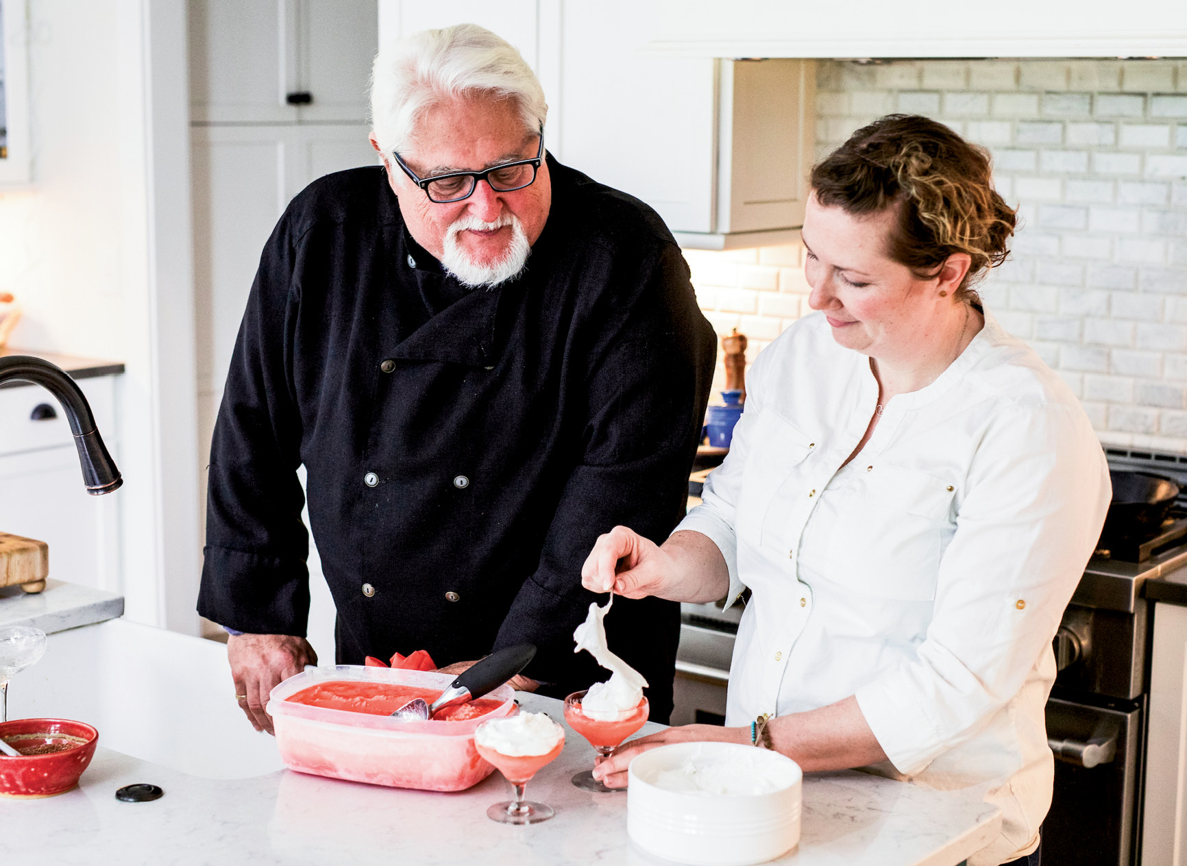 MariElena scoops strawberry elderflower sorbet into glasses and then tops the desserts with marshmallow fluff. The sticky stuff combines well with the smooth, frozen treat.