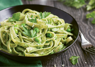"Spring Pantry: ""I'm obsessed with pesto and peas in the warmer months, so I'll make pasta using both of those."""