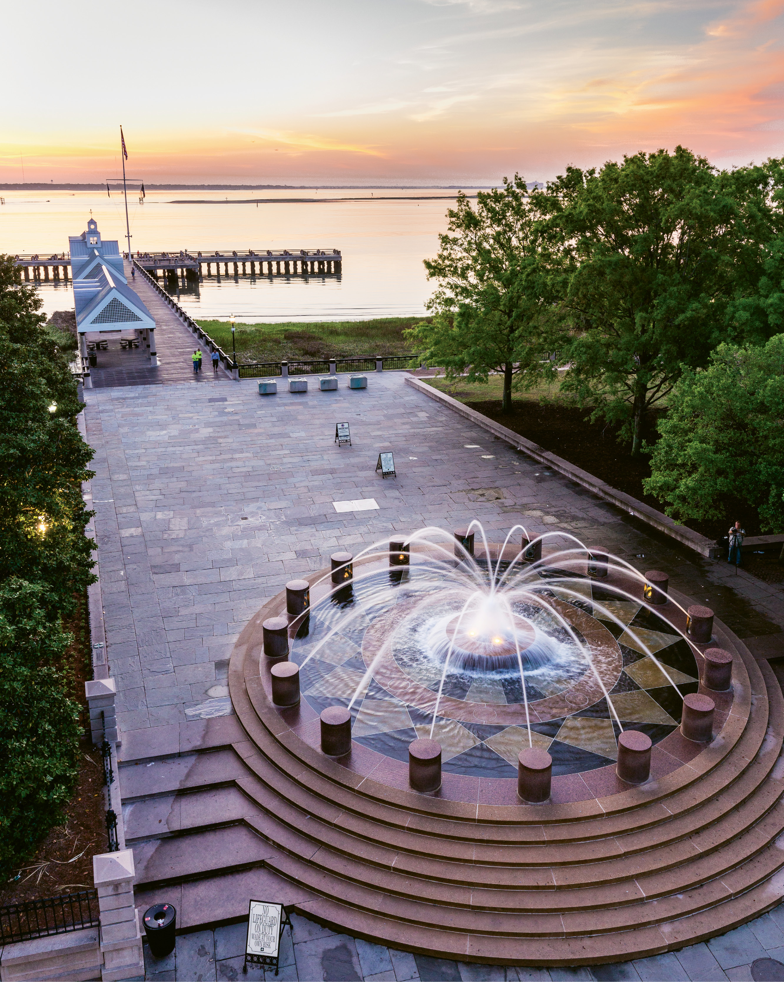Dawn at the  Spider Fountain by Raymond Colin Murray  {Professional category} - A spring morning at Waterfront Park
