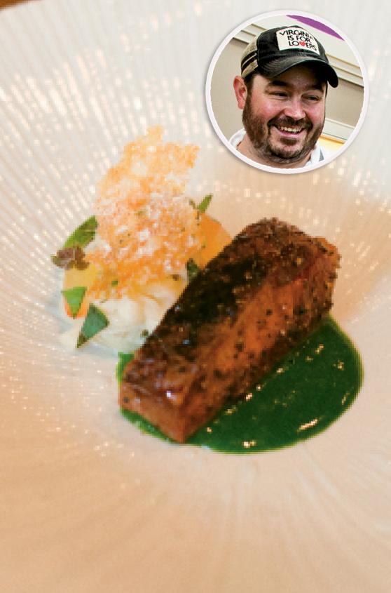INNOVATIVE MENU: McCrady's; watermelon-glazed roast duck and (inset) chef Sean Brock