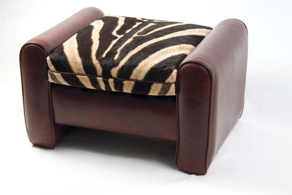 Forsyth zebra and leather ottoman, $3,400 at Fritz Porter