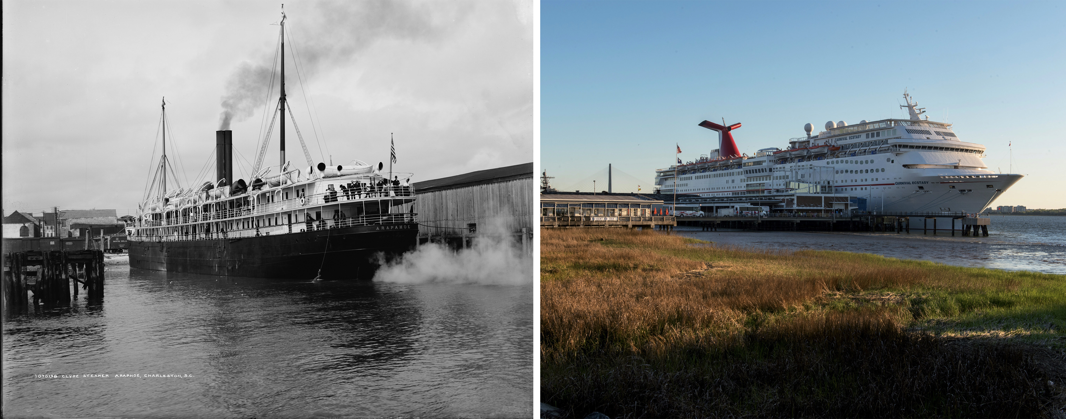 "WATERFRONT: Passenger ships regularly called on Charleston in the early 20th century. A far cry from the massive cruise liners that visit today, the Clyde Steamship Lines' S.S. Arapahoe (at left) illustrates what was then considered ""top-of-the-line."""