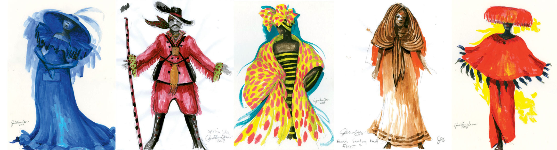 Costume designer Annie Simone will take her cues from Green's interpretive sketches and his more specific costume sketches for ensemble members and lead characters, such as Sportin' Life and Bess.