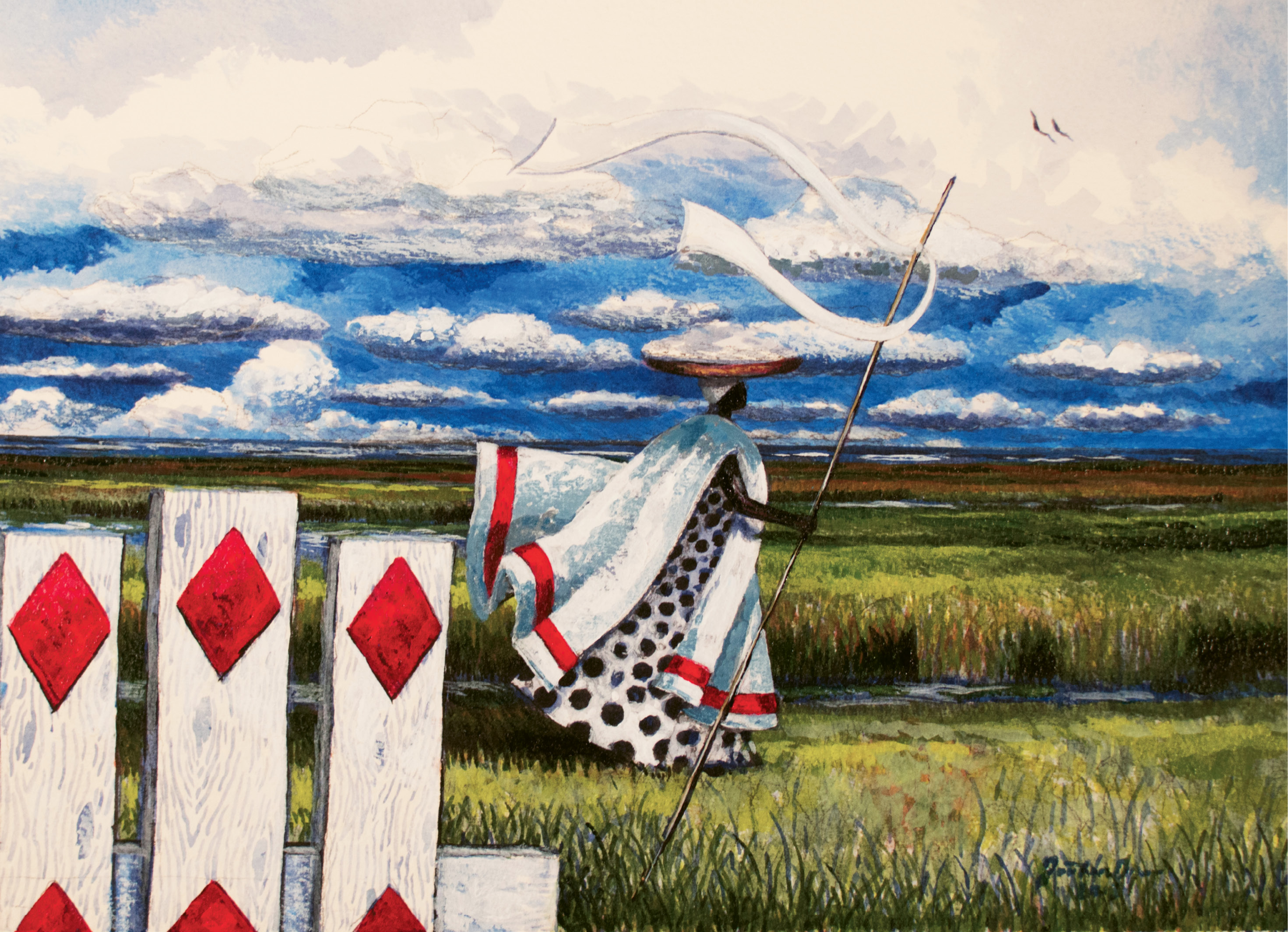 Strolling by a Sluice Gate (acrylic on watercolor, 11 X 14 1/2 inches, 2012)