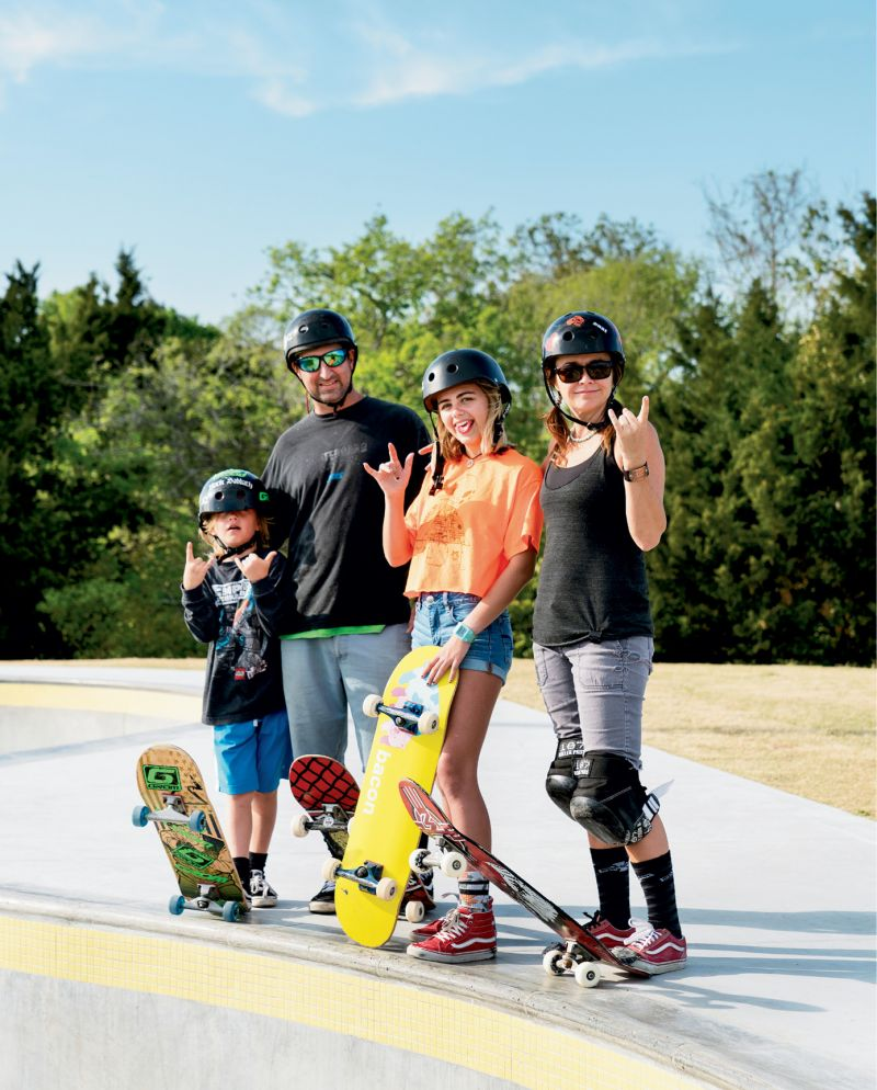 "The Smith Family: Johnny Otis, Mark, Audrey, and Shannon, a longtime skater and Pour It Now advocate; ""It was incredibly moving to see the park come alive and everyone so stoked,"" Shannon says about opening day, ""especially knowing that it will benefit countless people of all ages in multiple ways."""