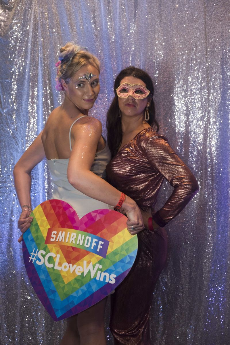 Amanda Kershner and Hillary Blevins pose in the photo booth.
