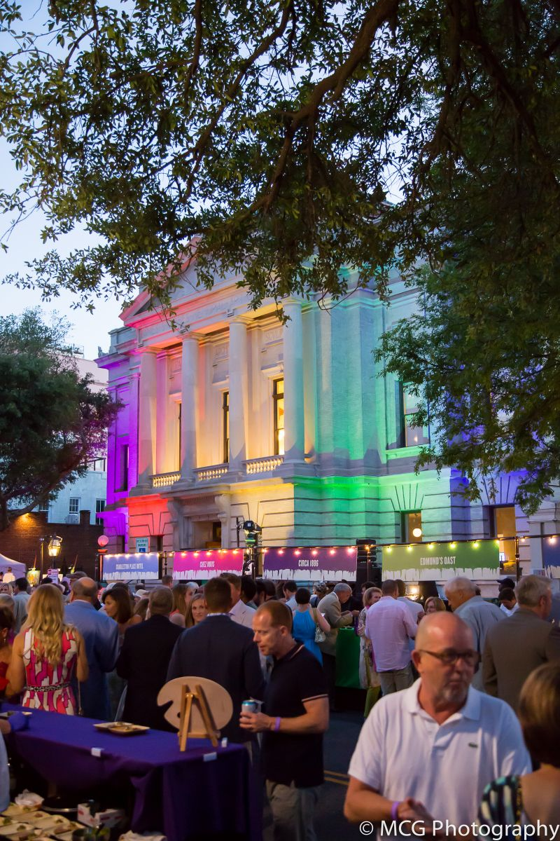 Fitting the technicolor theme, the Gibbes Museum was all lit up in rainbow lights.