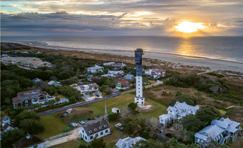 """Charleston Light, Winter Sunrise""  {Altitude: 190 feet}  The Sullivan's Island lighthouse amidst a chilly December sunrise"