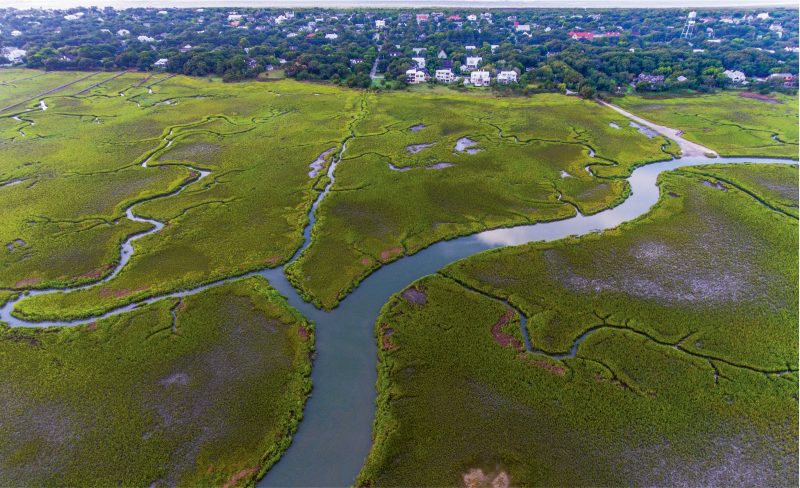 """Summer Creeks"" {Altitude: 250 feet}  Intracoastal marsh creeks near Station 26 1/2 on Sullivan's Island"