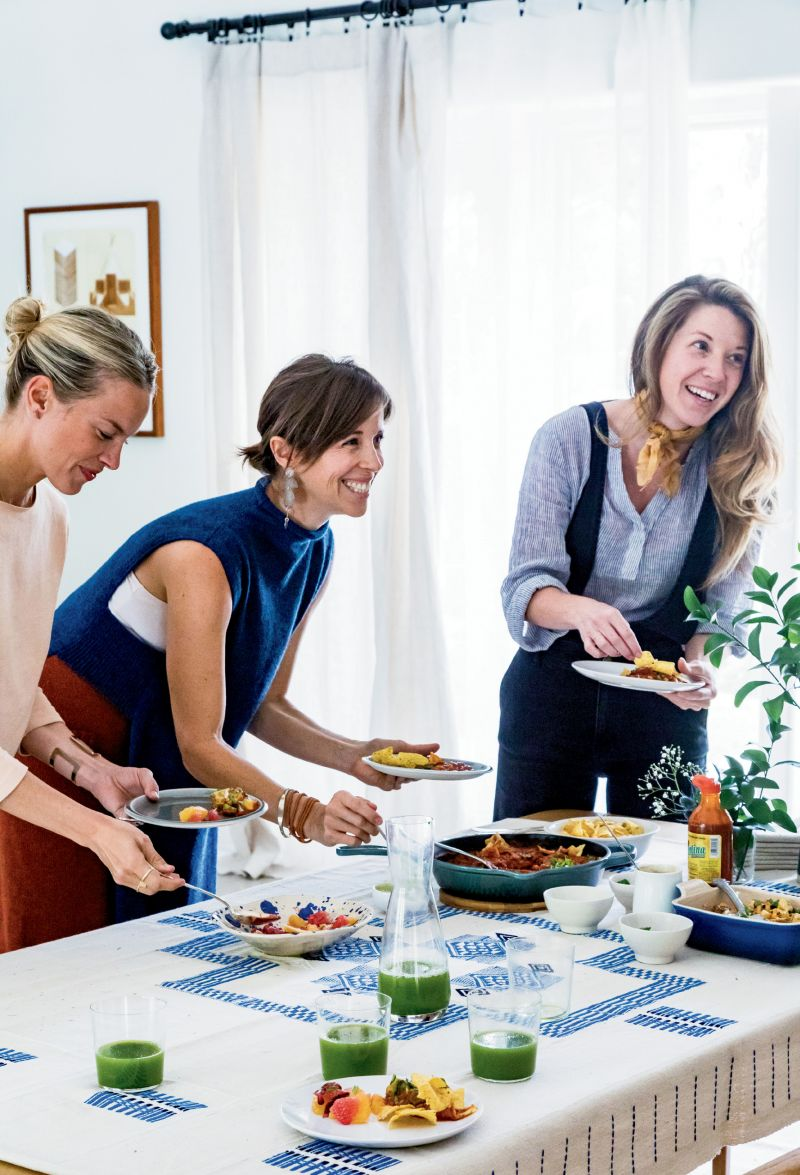 """(Left to right) Kate Towill, Harper Poe of Proud Mary, and Melissa Sutton of design firm Plum Collective are among the """"amazing creative women"""" whom Jessica counts as friends."""