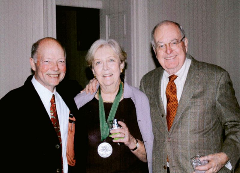 FOUNDER'S FAME: In 2009, Charleston Horticultural Society honored its cofounder Patti (pictured with Edward Crawford and Peter) with its esteemed 1830 Award.