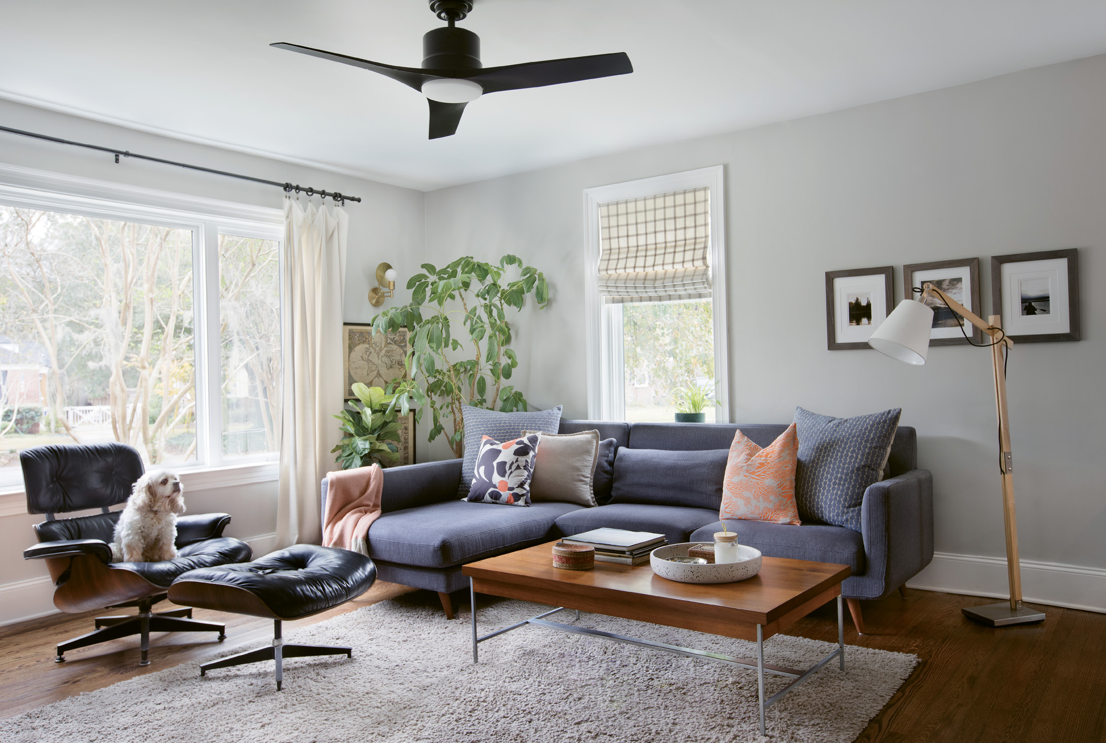 FAMILY HEIRLOOMS: In the living room, a mid-century vibe reigns thanks to a Herman Miller coffee table and Eames chair, both hand-me-downs from Jacques's father. The umbrella plant behind the couch is also a family keepsake: after nurturing it for more than 40 years, Carrie's father passed it down to her for safekeeping.