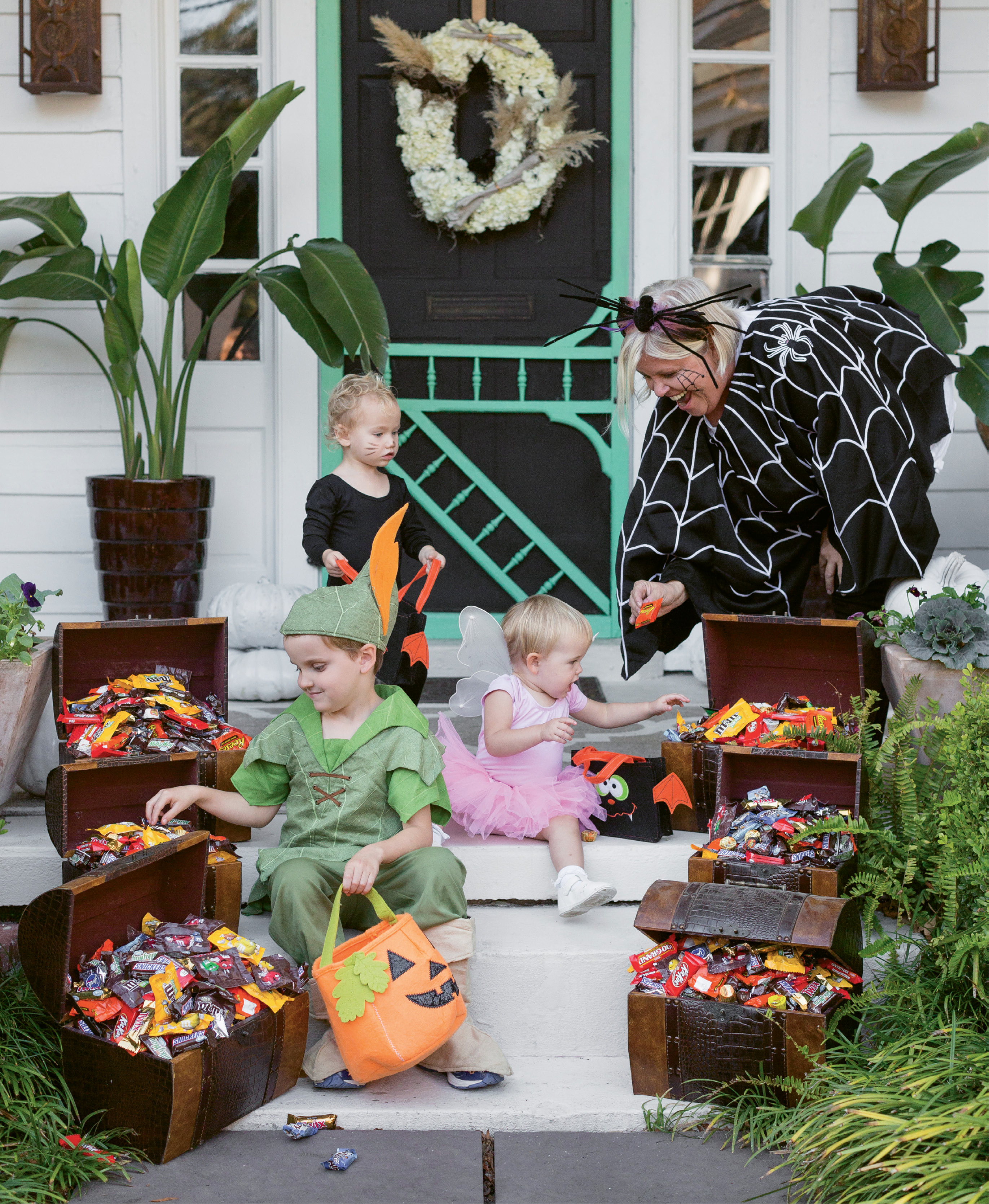Lisa plans for about 400 visitors—pint- and parent-sized. Children get to choose three pieces of candy from these treasure chests.