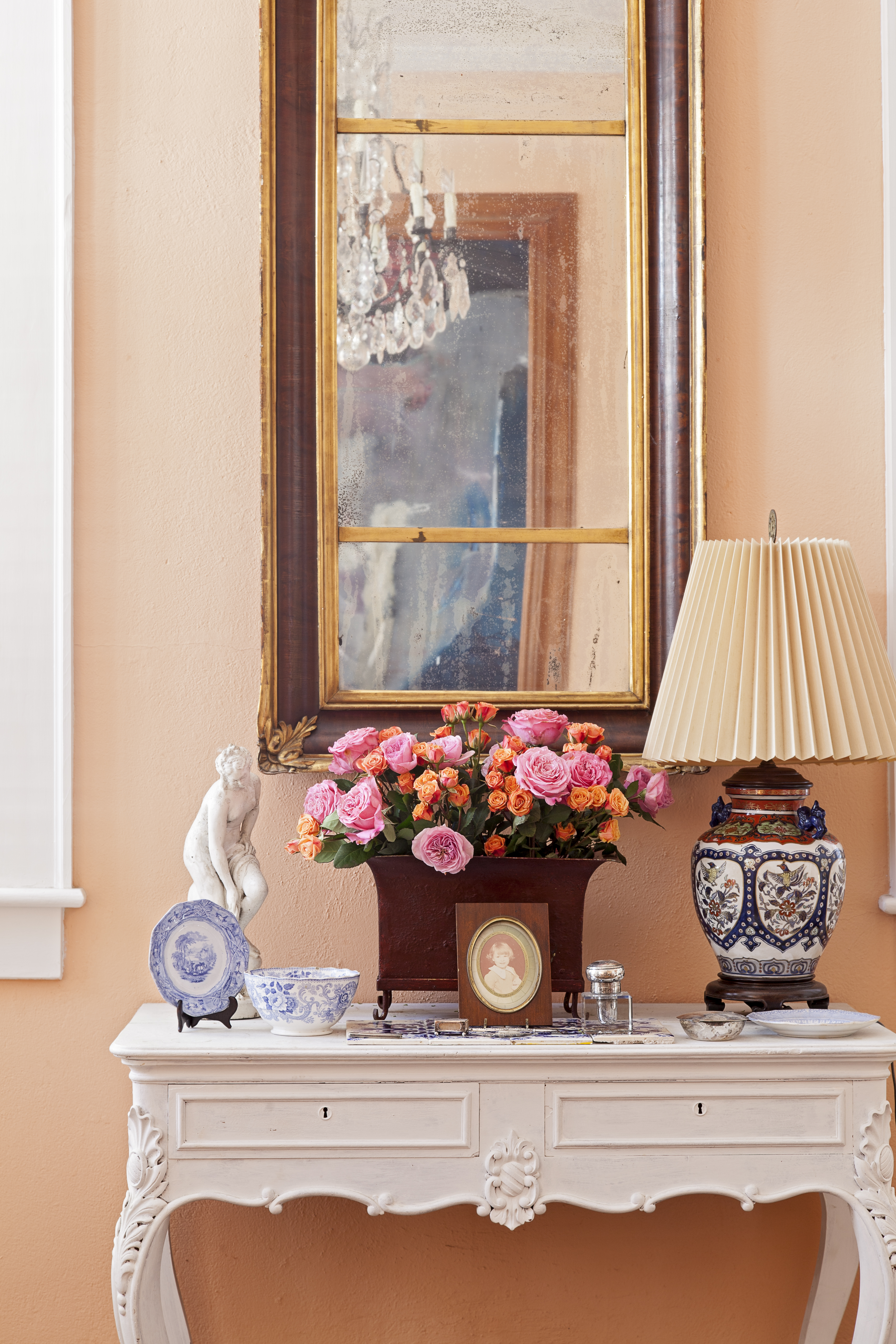 First Blush: This mirror is one of the first things Bigner purchased for the house; she liked how its height complemented the ceilings.