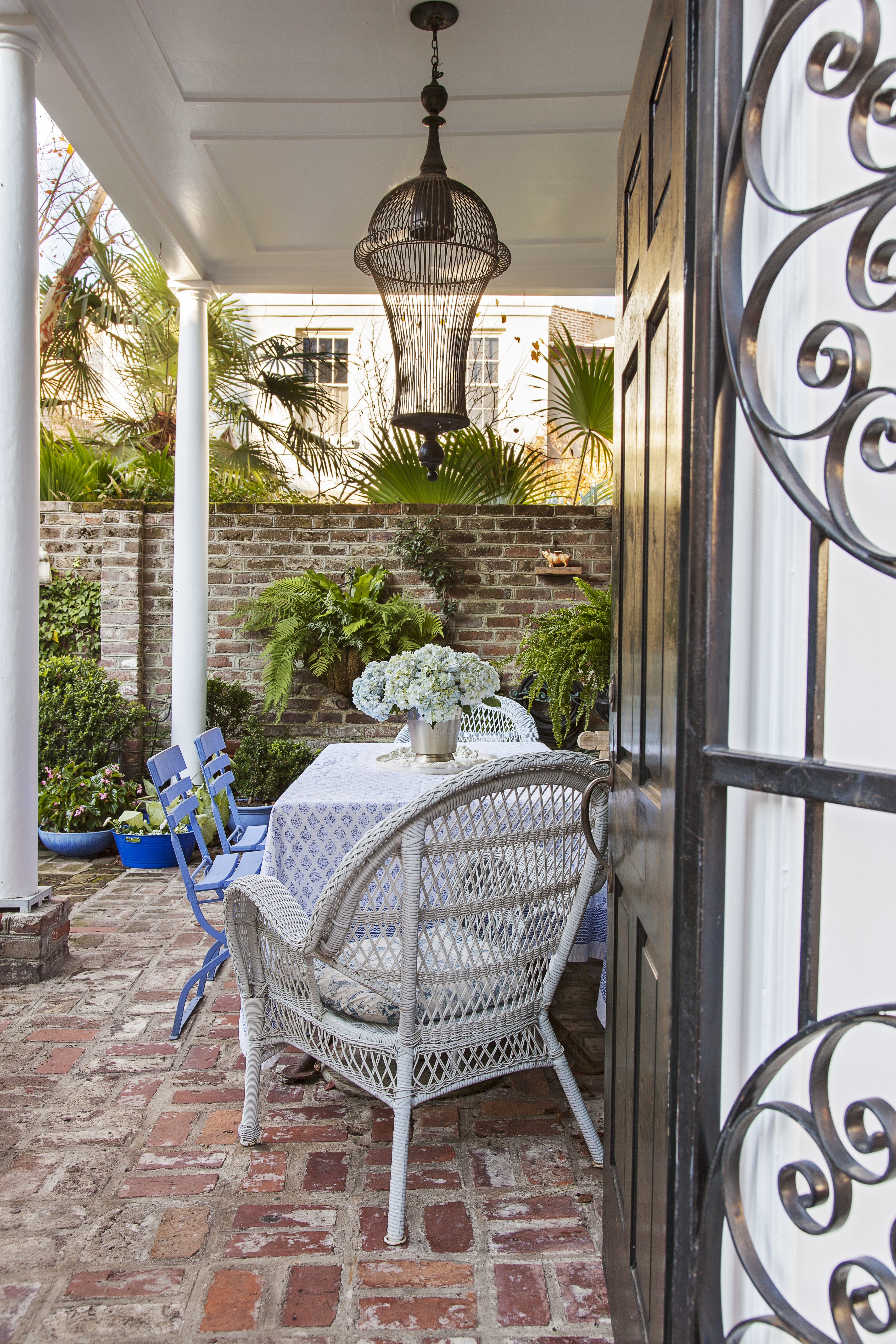 Holding Court: This charming courtyard is Bigner's favorite place to entertain.
