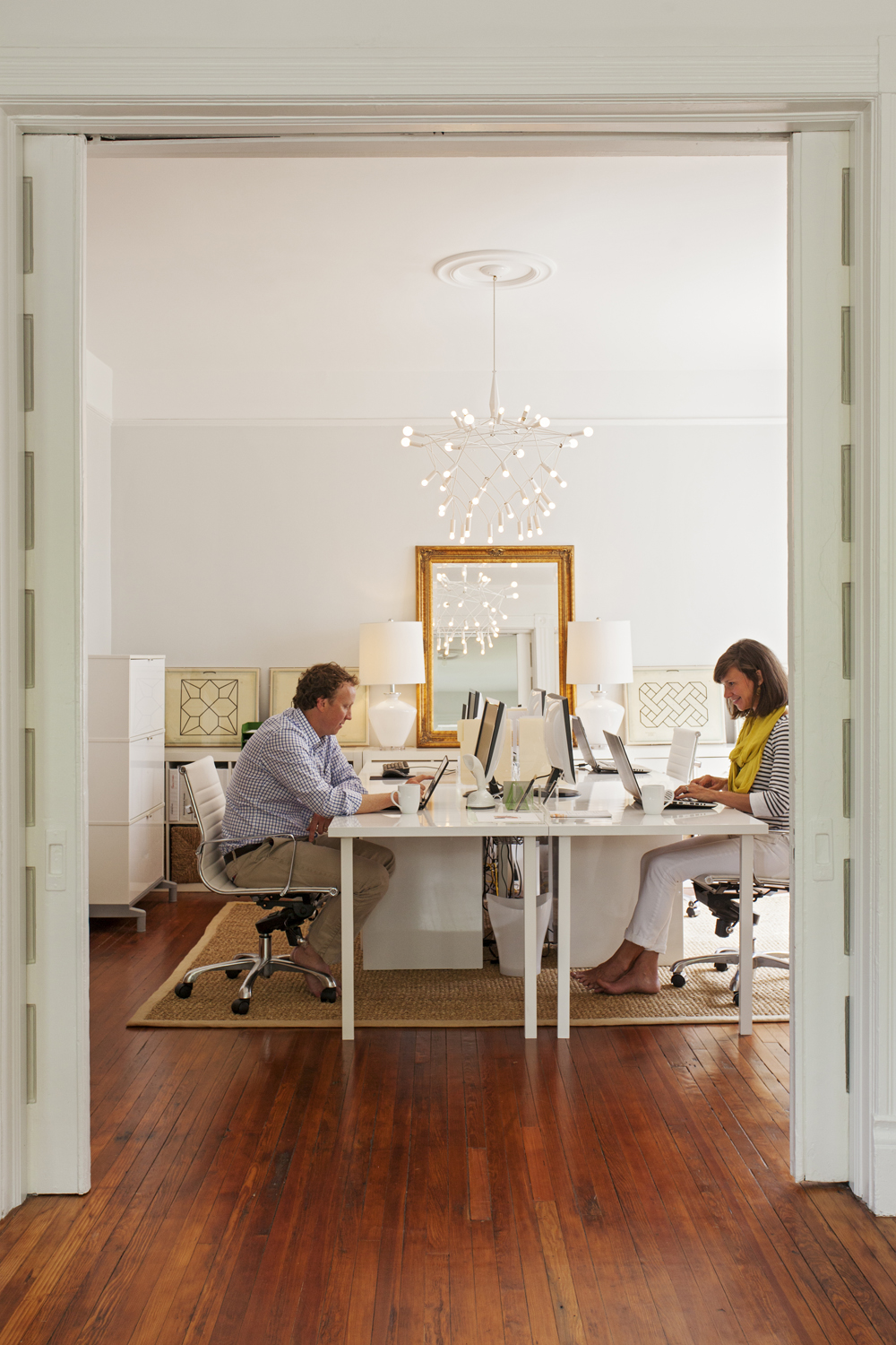 Here, Lauren tackles design projects for commercial and residential clients; Jonathan occasionally works here, too.