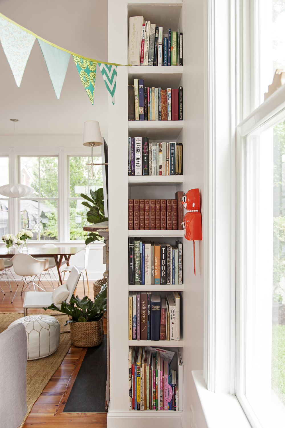 Top Shelf: Built into the side of the fireplace, this bookshelf provides not-quite-hidden storage.