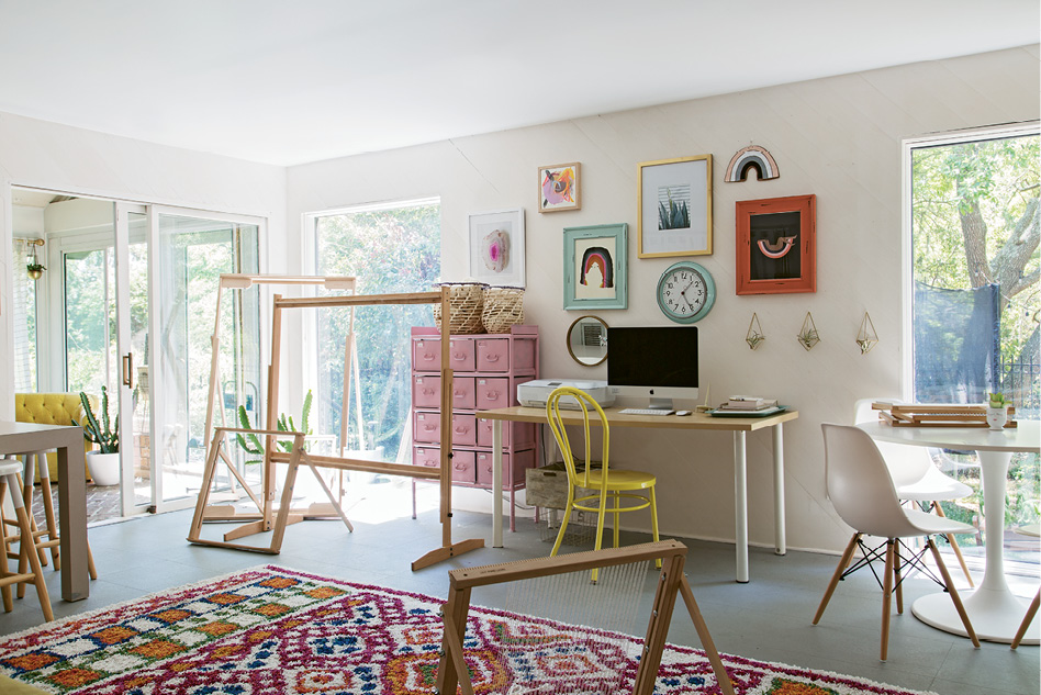 """A LOOM OF ONE'S OWN: """"I wanted the studio to feel like a separate space, so it's bright with lots of pinks and more color than the rest of the house,"""" Erin notes."""