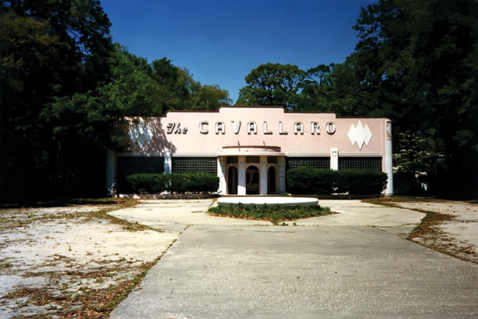The Cavallaro's original Art Deco façade on Savannah Highway after the restaurant closed post-Hurricane Hugo