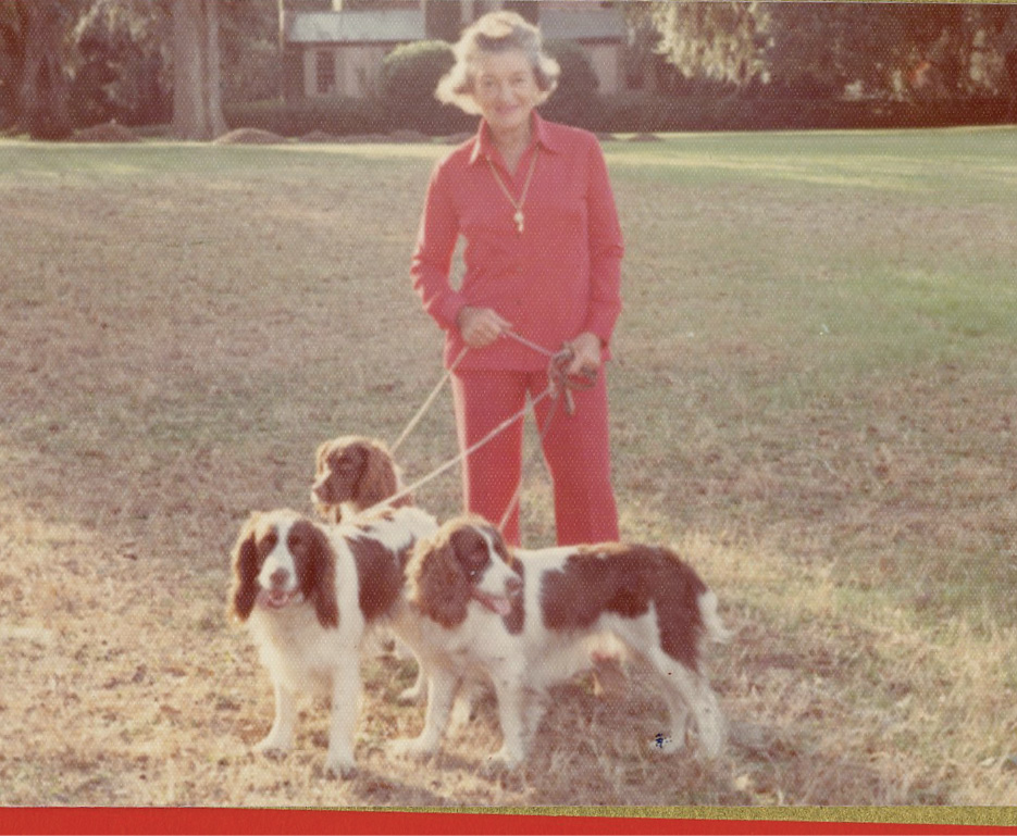 With her ever-present dogs in 1973