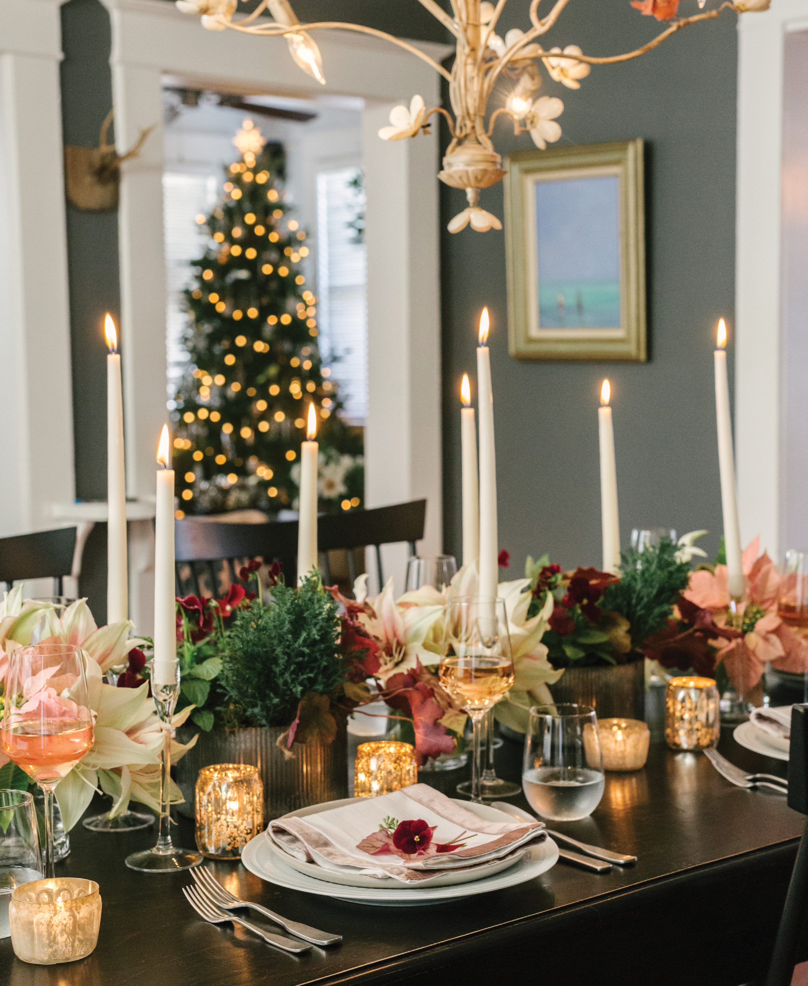 Tabletop Magic: The holidays also call for planning special meals and decking out dining spaces. Heather recommends working fresh florals and pops of color into your tablescape.