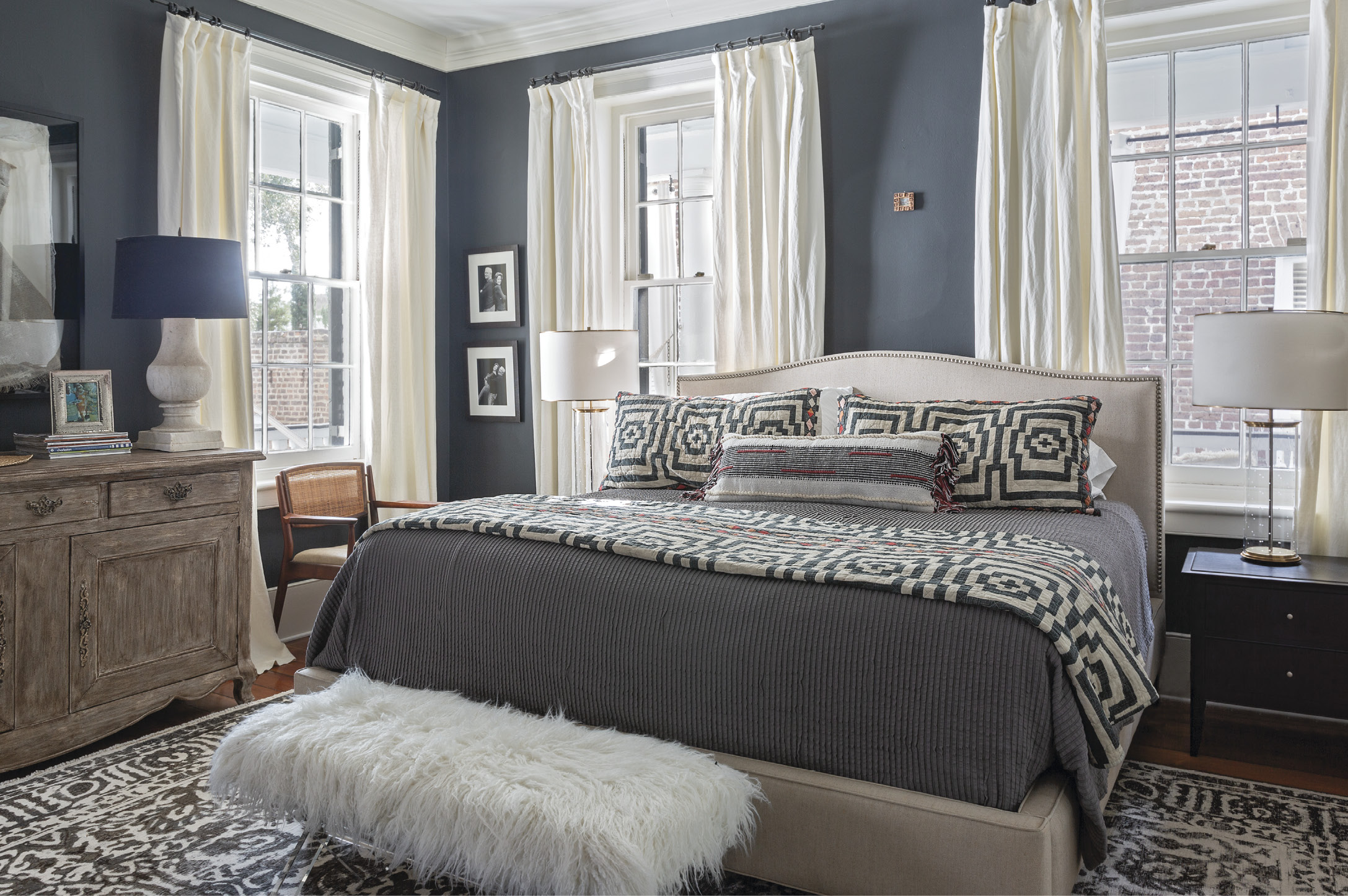 Boho Bedrooms: Justina Blakeney bedding adds a Bohemian touch to the light-filled master bedroom.