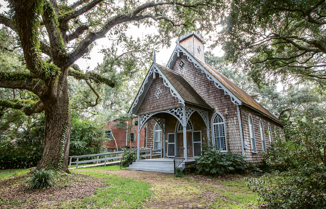 Built in 1890 of black cypress shingles, St. James' Episcopal Church was originally the chapel-of-ease for the Brick Church at Wambaw and served Santee River planters who summered in McClellanville. In 1918, the roles reversed when the Brick Church was declared inactive and the chapel-of-ease became the parish's main house of worship. Today, it remains an Episcopal church with regular Sunday services.