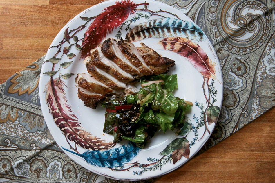 Lemony chicken with chard makes for a flavorful main