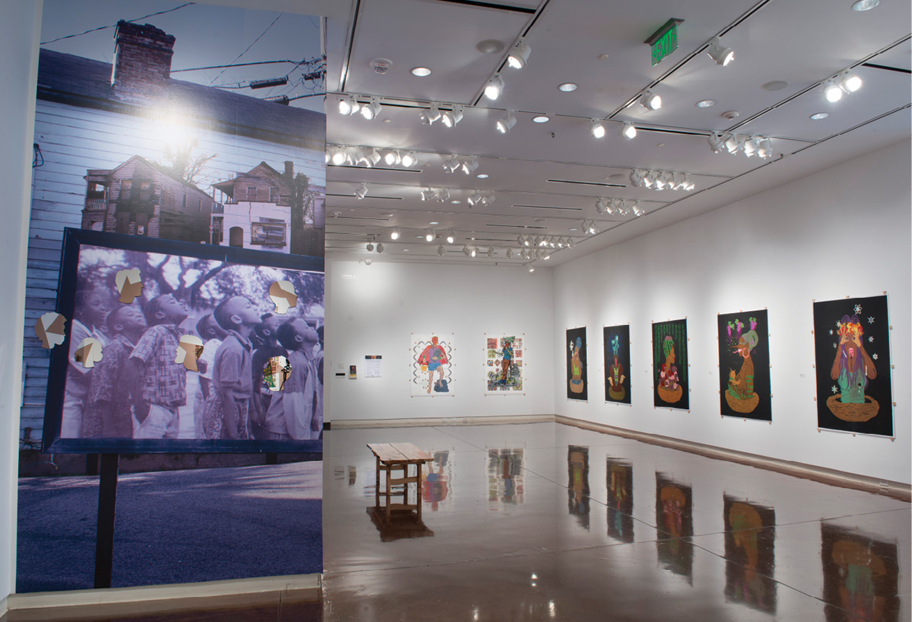 """The 2019 Katrina Andry exhibition, """"Over There and Here is Me and Me,"""" explored gentrification."""