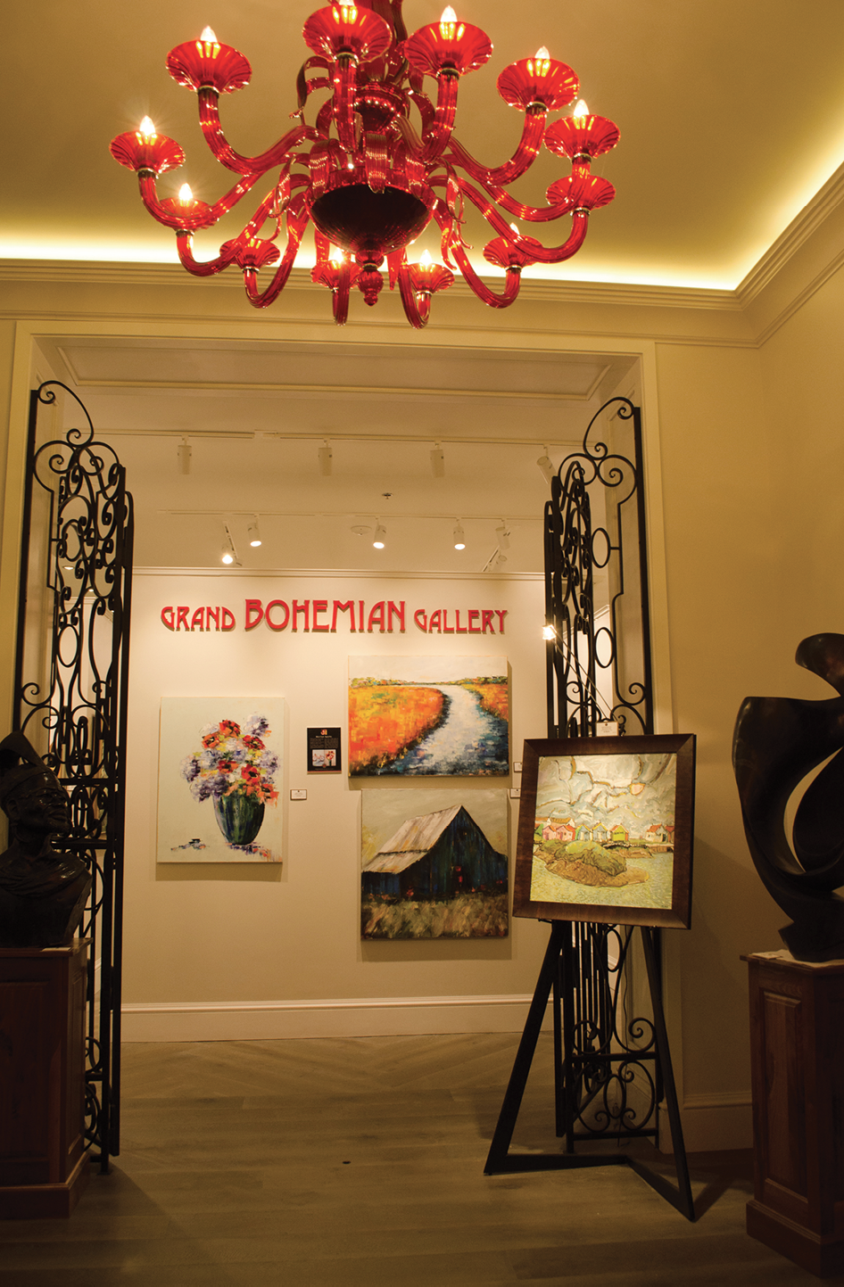 The gallery at Grand Bohemian on Wentworth are among the hotel's amenities that locals can enjoy, too.