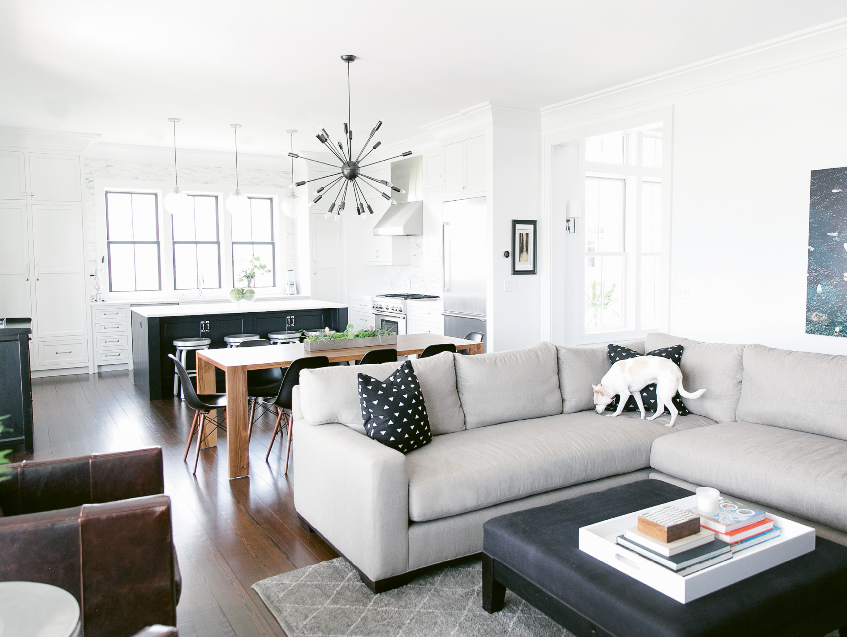 """The bones of the house are undeniably coastal, but to capture the vibe of the Mission District, the San Francisco neighborhood where she lived for many years, Melissa """"brought in tons of black to make the interiors feel more urban."""""""