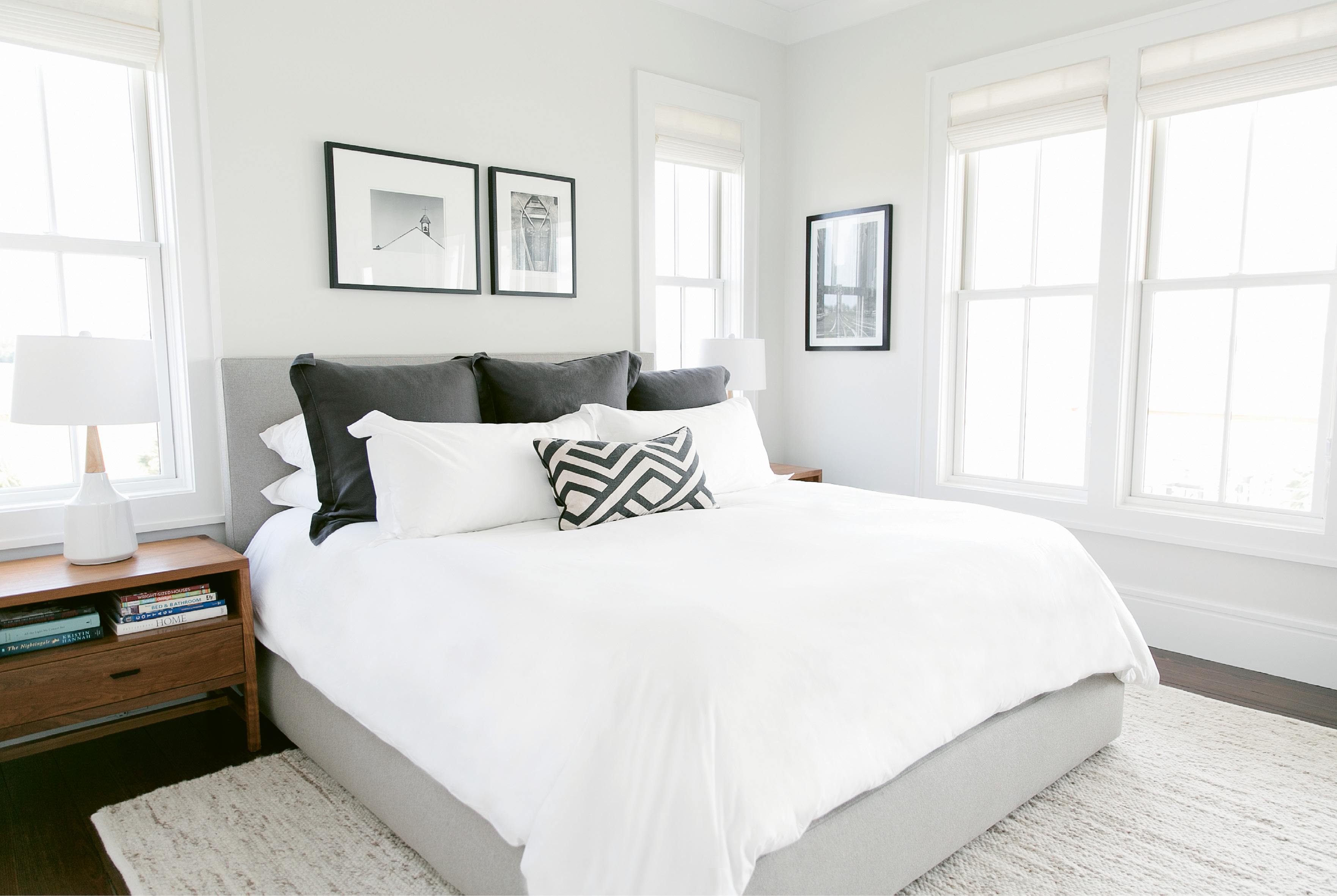 The black-and-white master suite is a soothing retreat from the bright colors and busy patterns Melissa often sees as an interior designer.