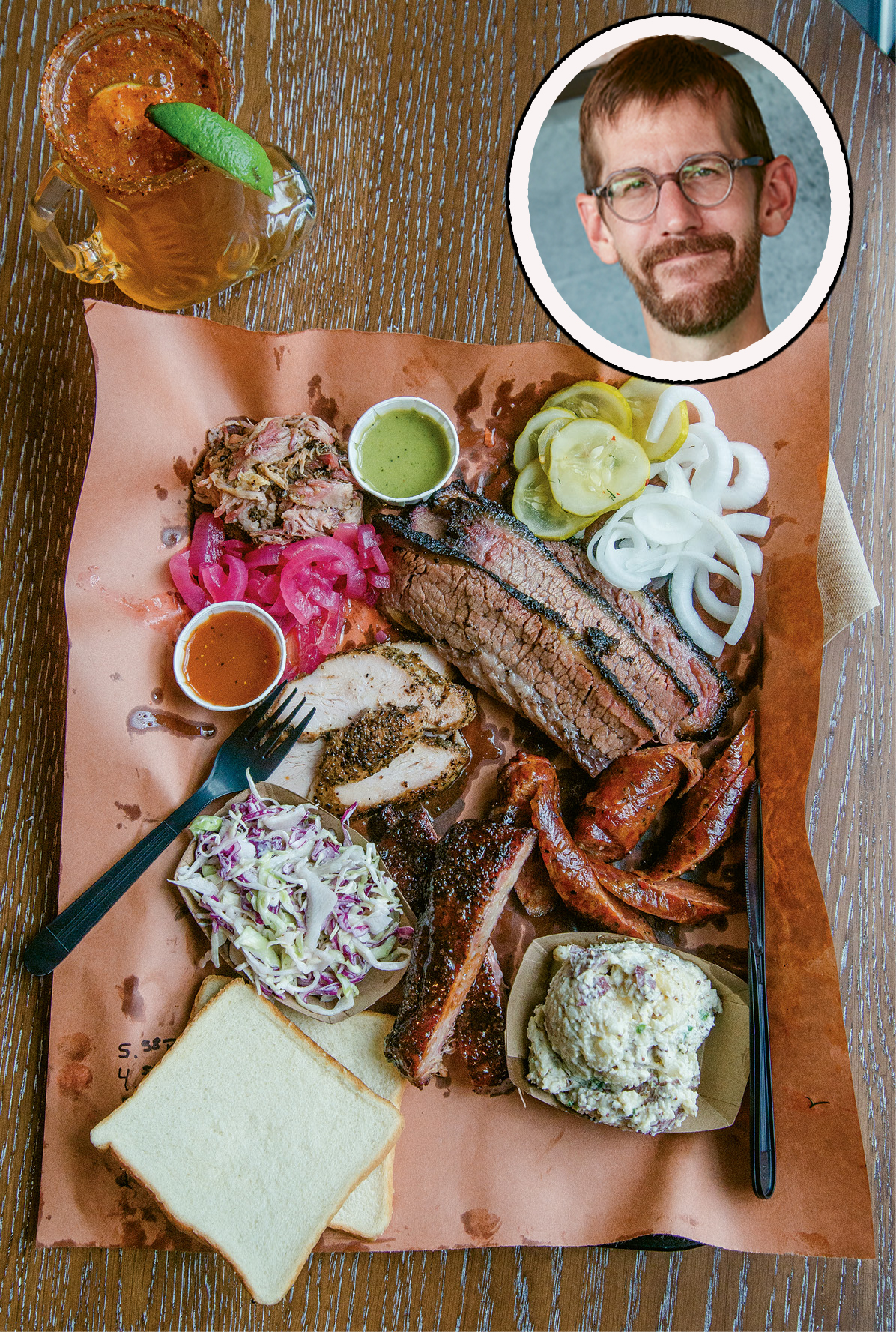 Beef brisket, Texas hot guts, ribs, smoked turkey, and more from Lewis Barbecue; (inset) pitmaster John Lewis