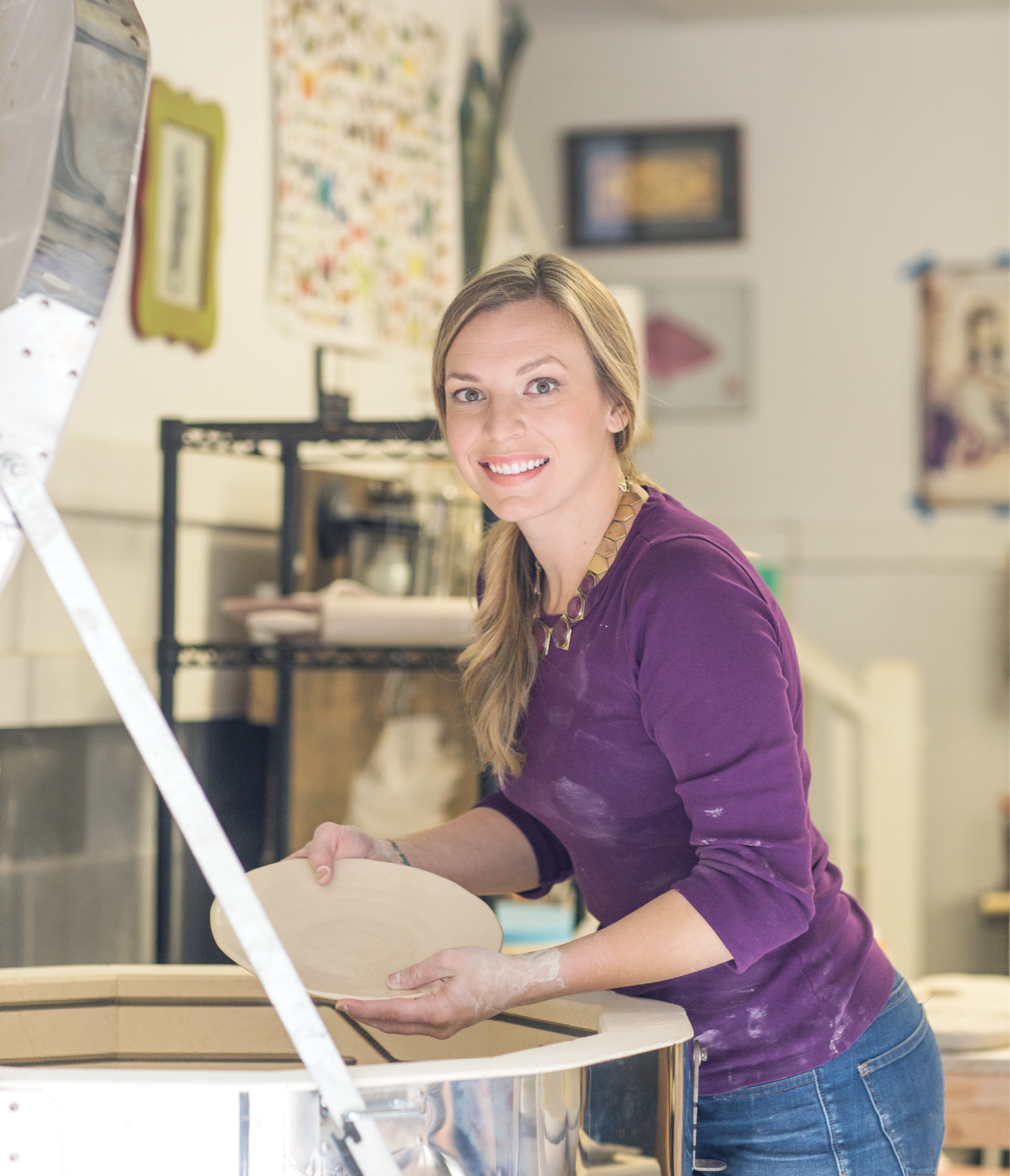"""Grace Jennings at work in her studio; see more of her work at <a href=""""http://www.graceyourtable.com"""">www.graceyourtable.com</a>."""