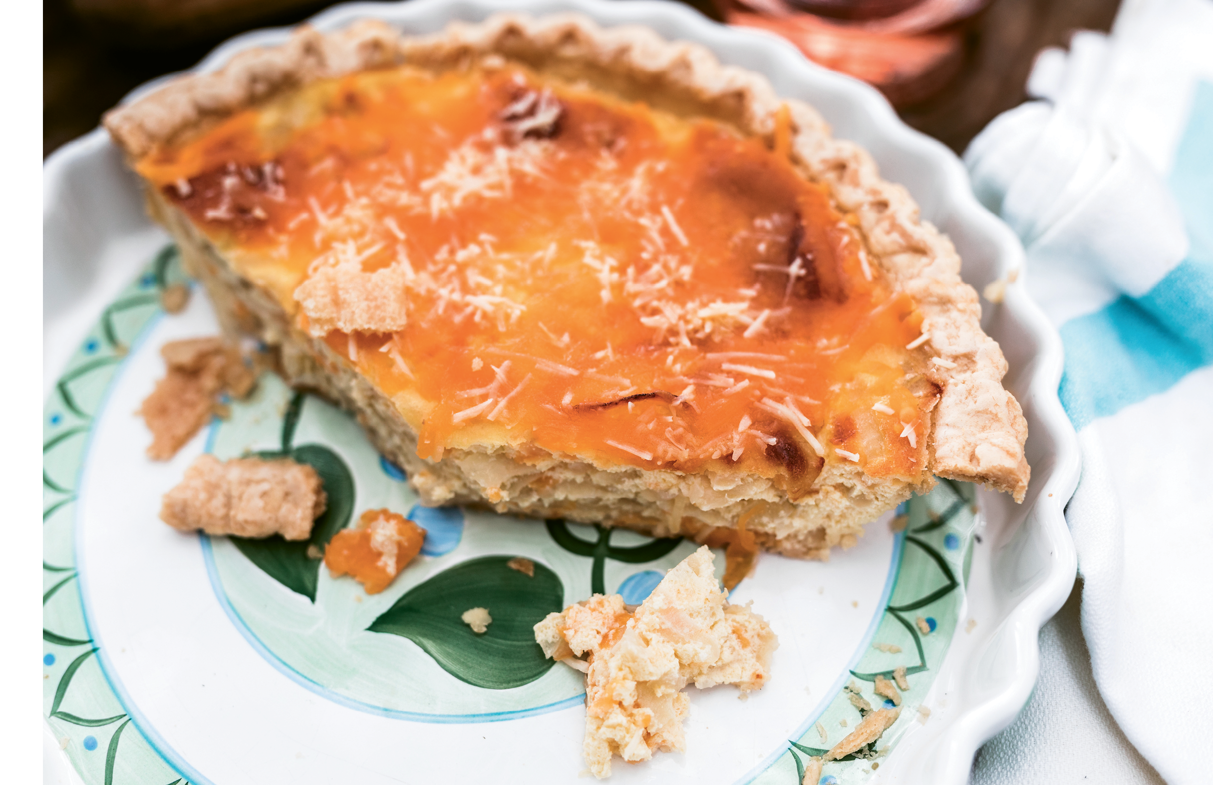 Vidalia onion pie, a satisfying staple passed down through Anne Marie's family, showcases onions at the peak of their ripeness in late summer, when the bulbs are the sweetest.