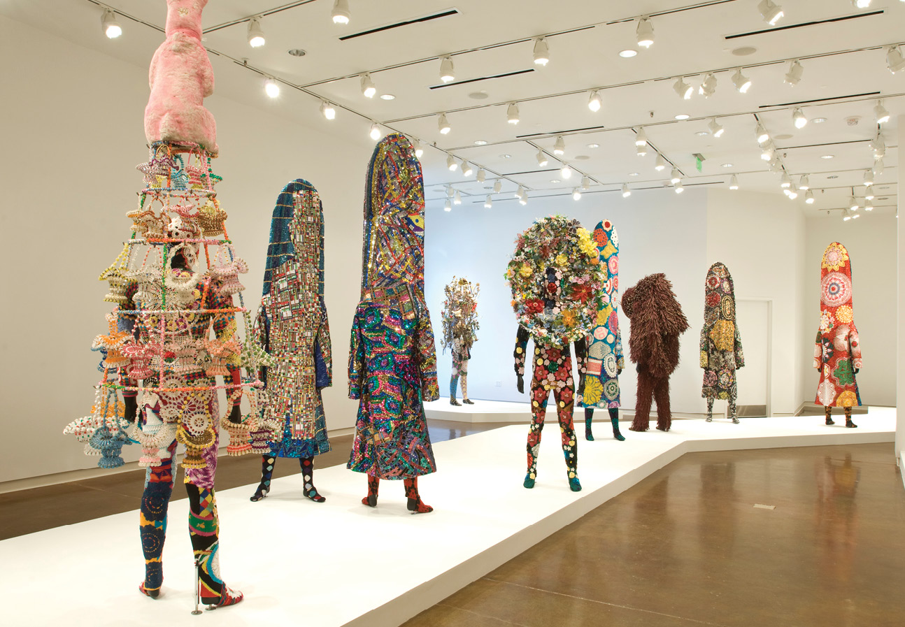 """Nick Cave's Soundsuits in the """"Call and Response: Africa to America"""" exhibit in 2010"""