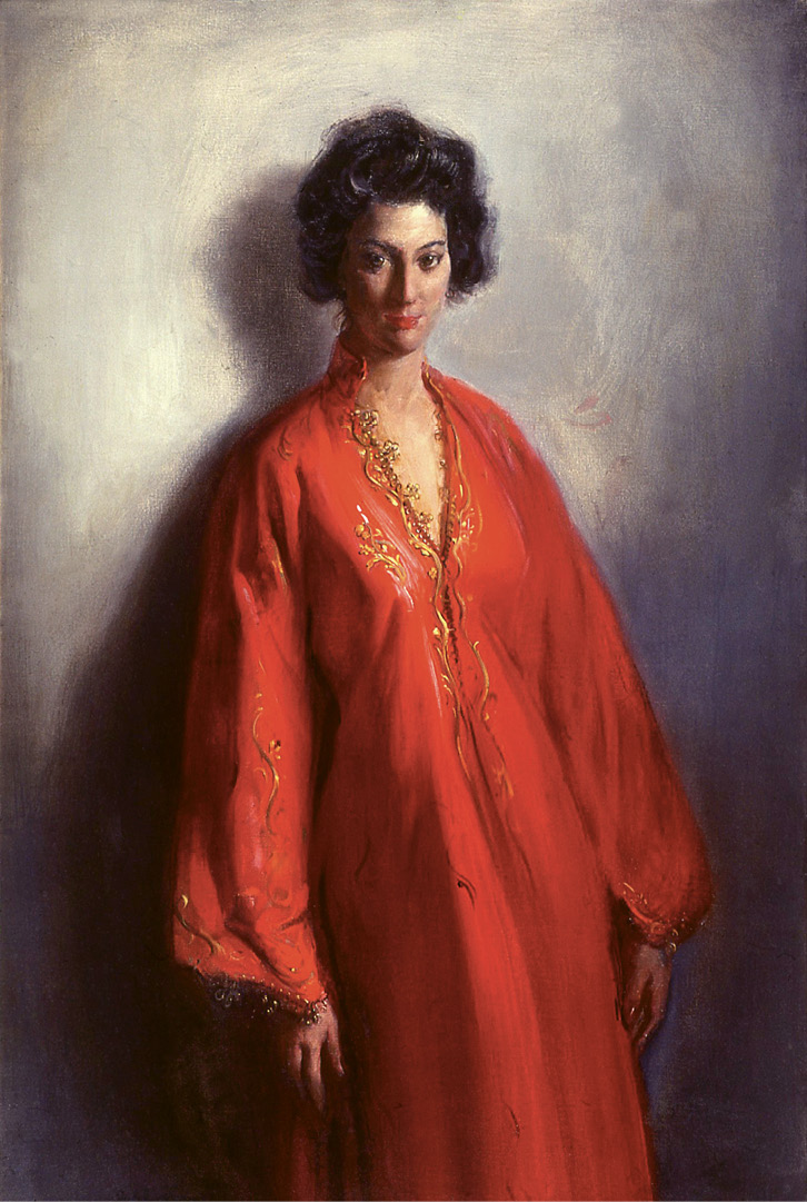 Susan in Costume by Frank Mason (oil on canvas, 59 x 37 inches, 1959)
