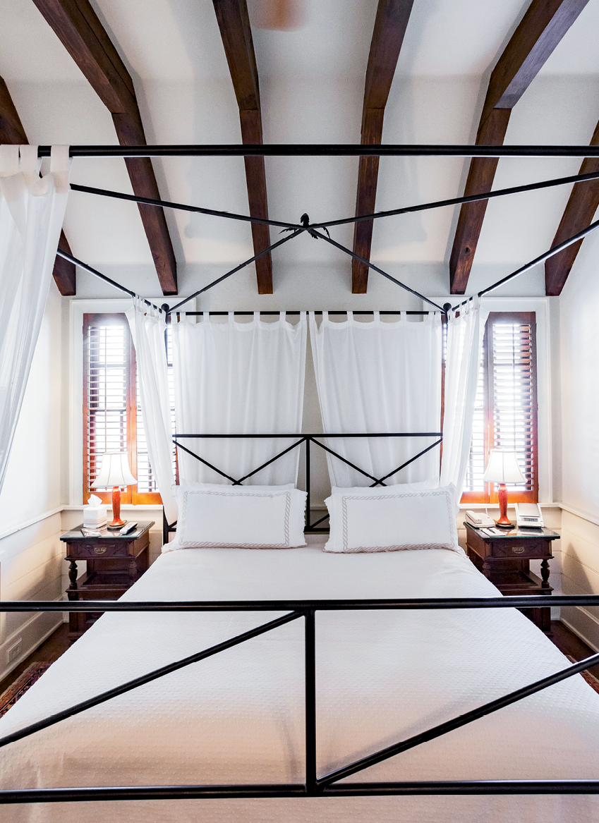 The luxurious amenities include Italian Frette linens and European antiques