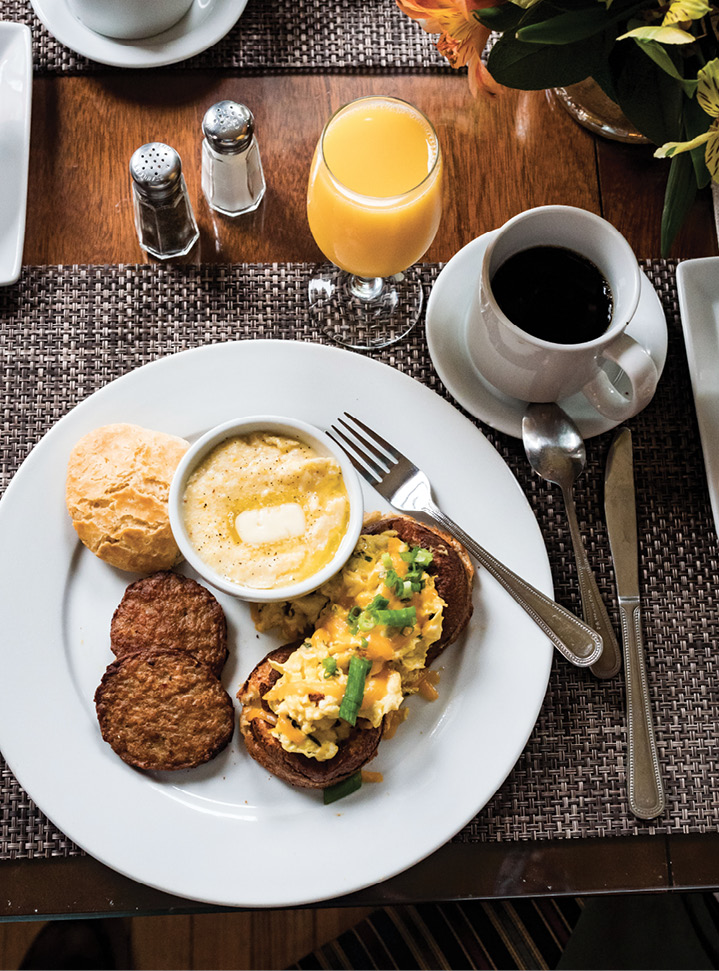 ...breakfast with grits and herbed eggs...